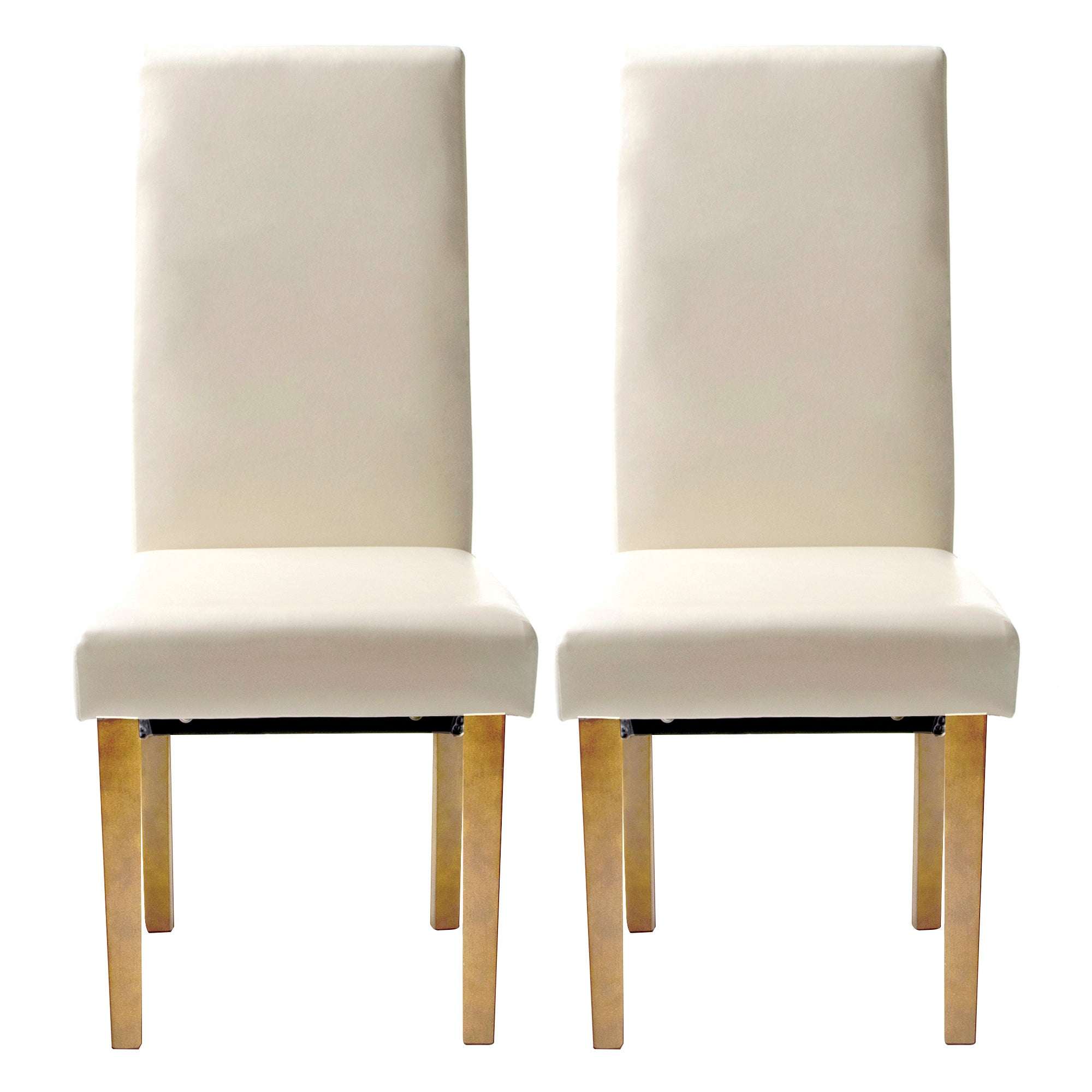 Hunston Cream Faux Leather Pair of Extra Large Dining Chairs Dunelm