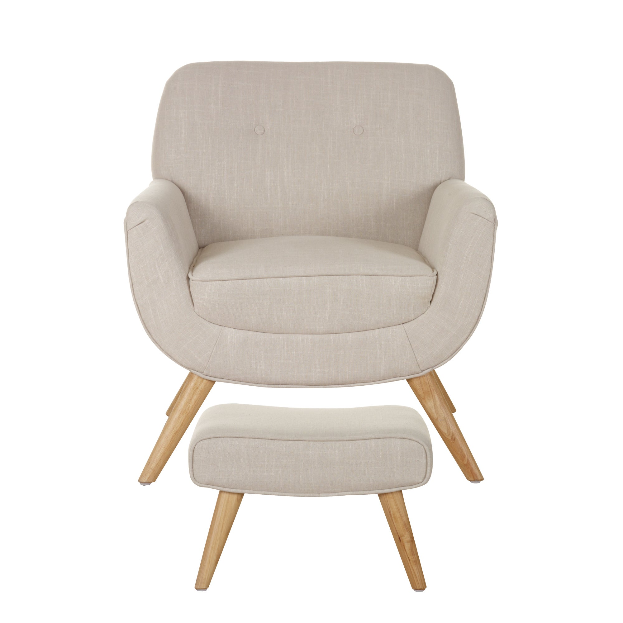 Skandi Natural Armchair and Footstool Natural Brown