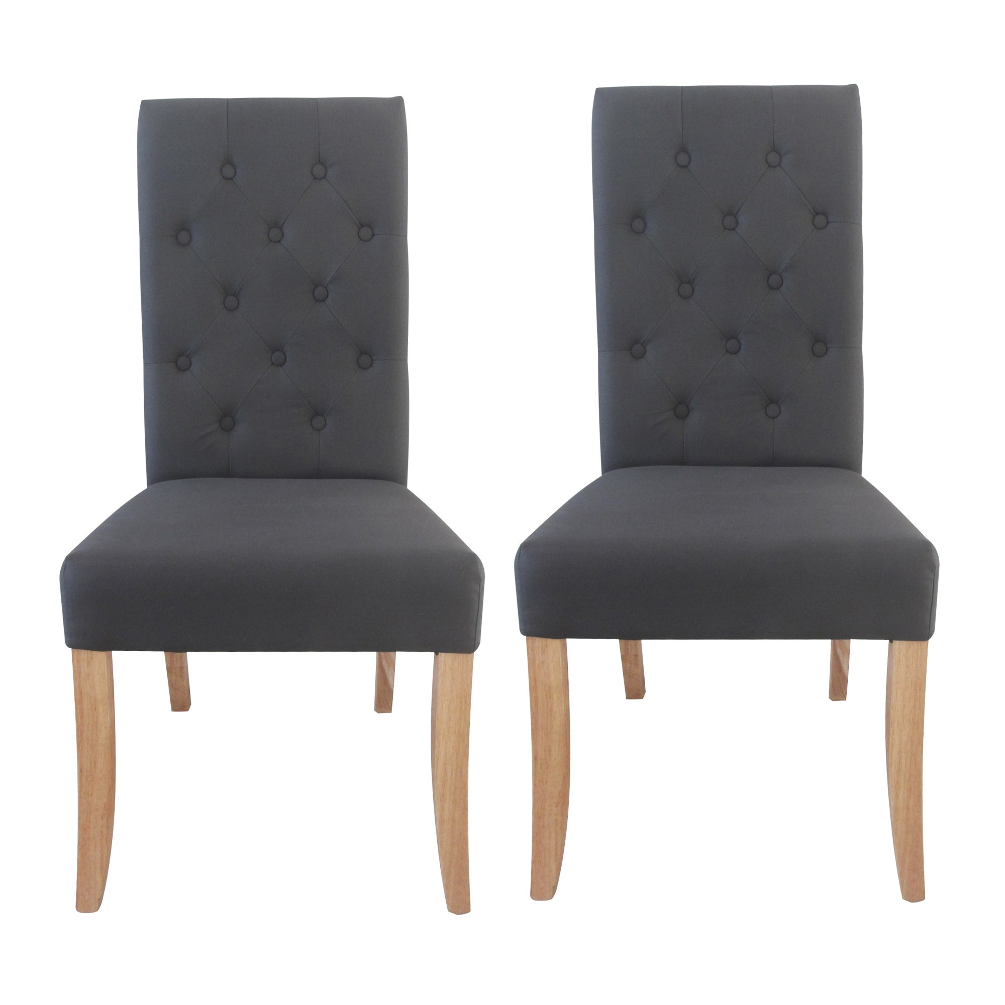 Antoinette Charcoal Pair of Dining Chairs Dark Grey