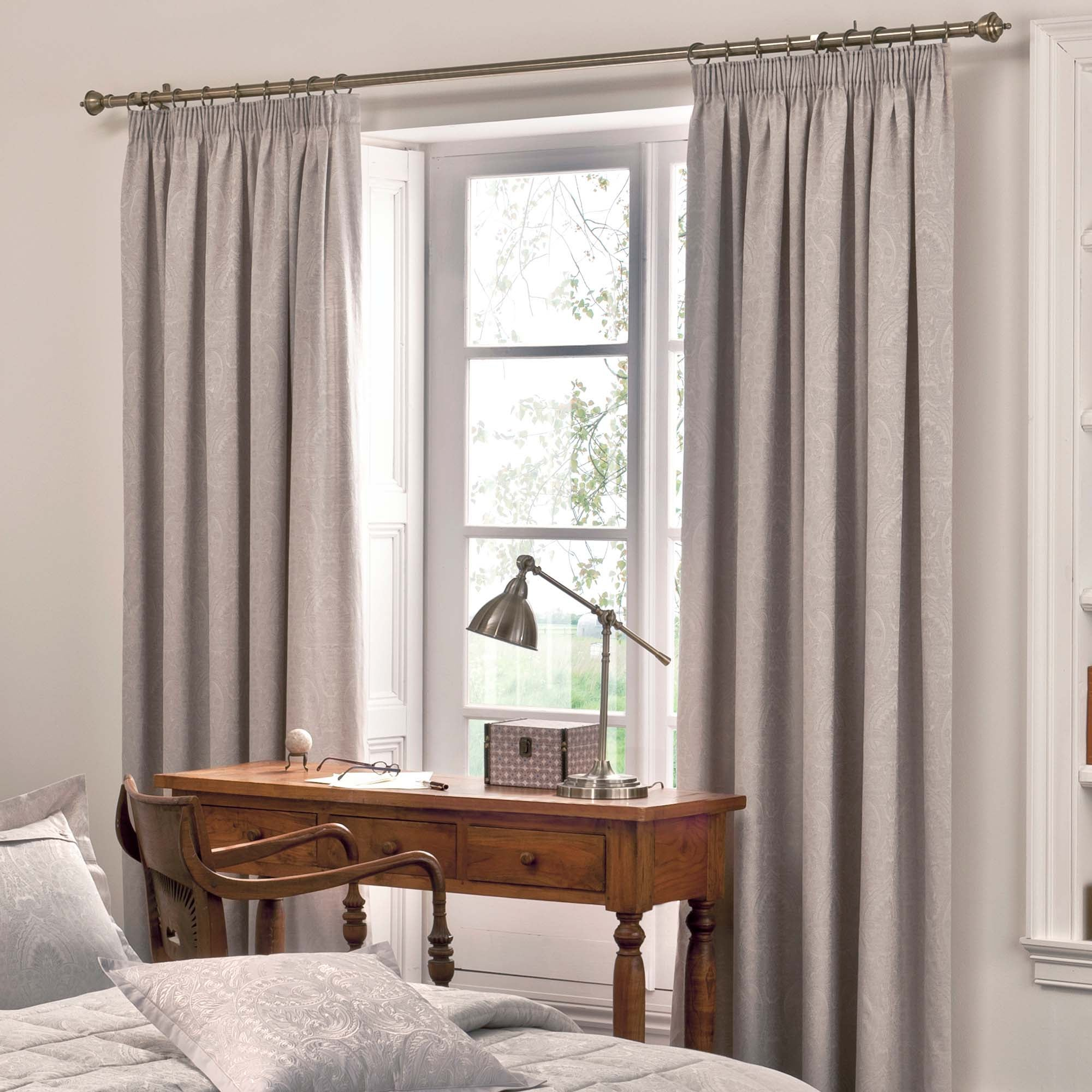 Photo of Dorma paisley natural lined pencil pleat curtains cream