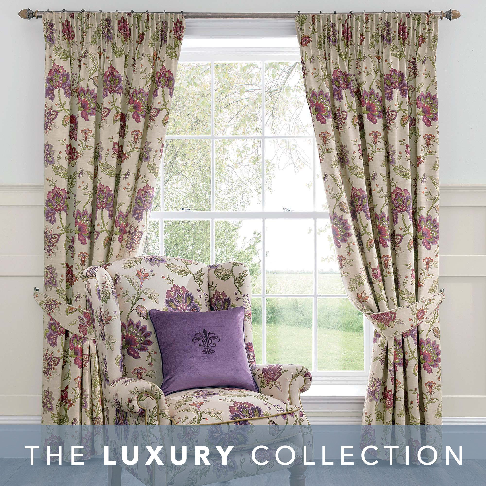 Photo of Dorma bloomsbury plum lined pencil pleat curtains cream / purple