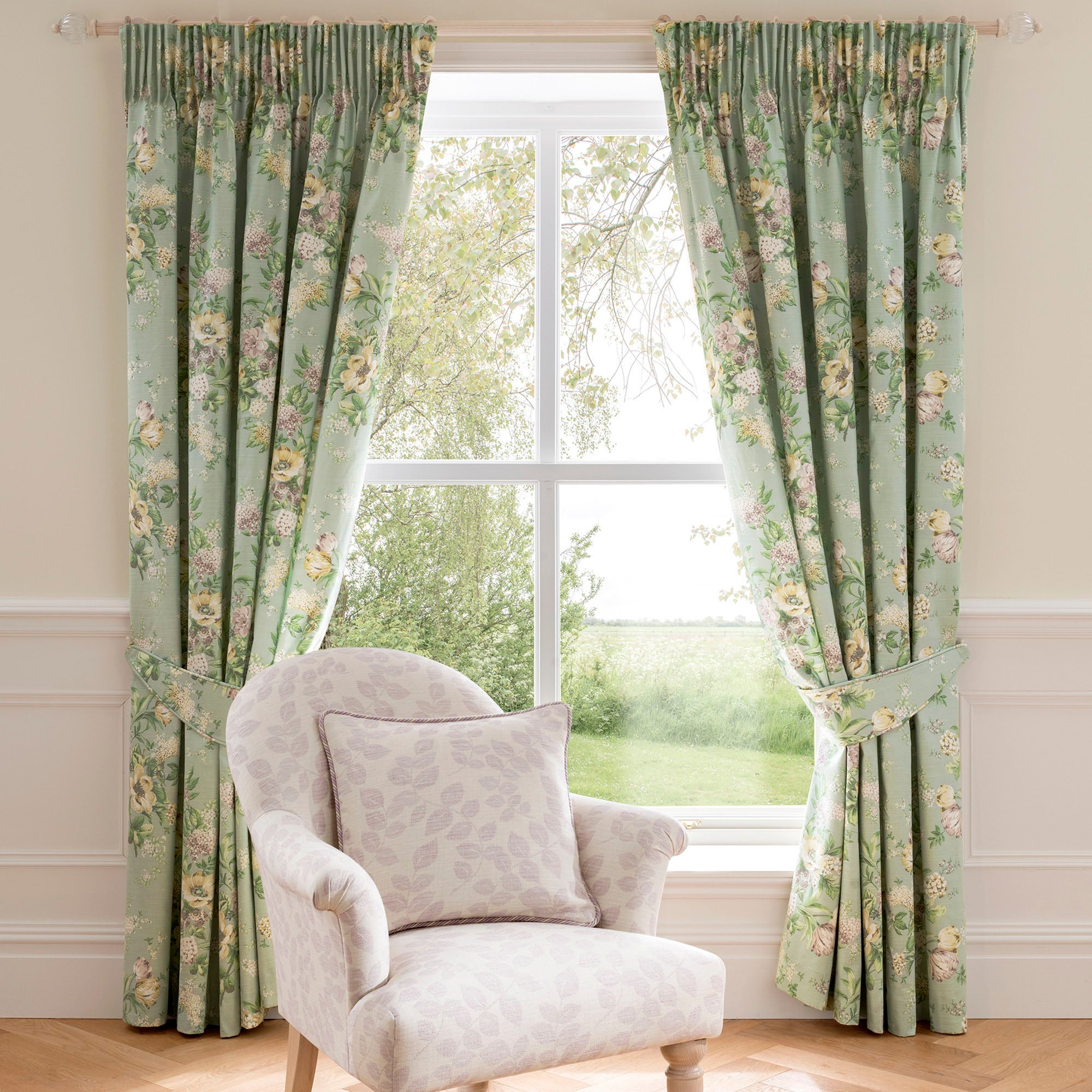 Photo of Dorma brympton duck-egg lined pencil pleat curtains duck egg green
