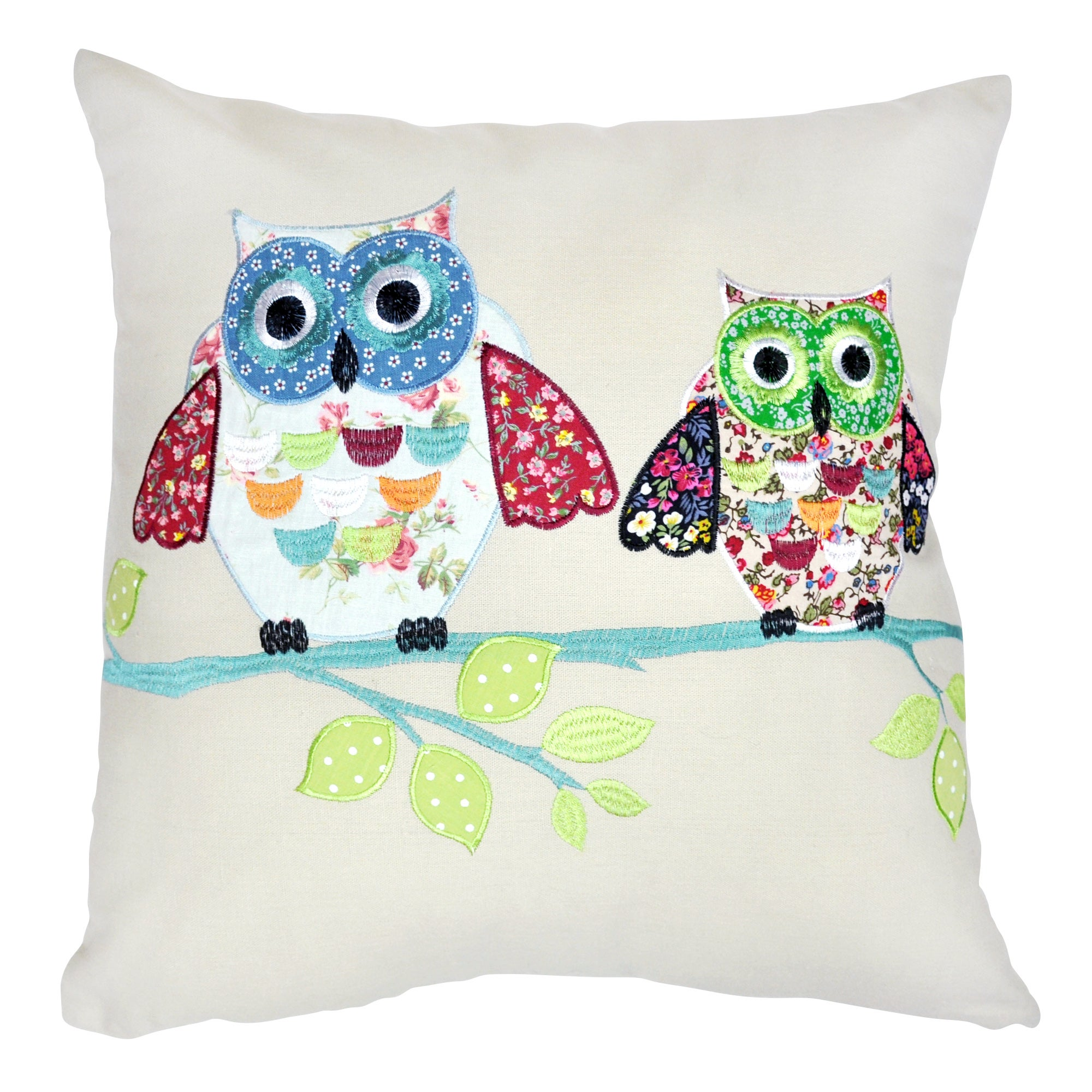 Photo of Applique two owls cushion cover cream / green / blue