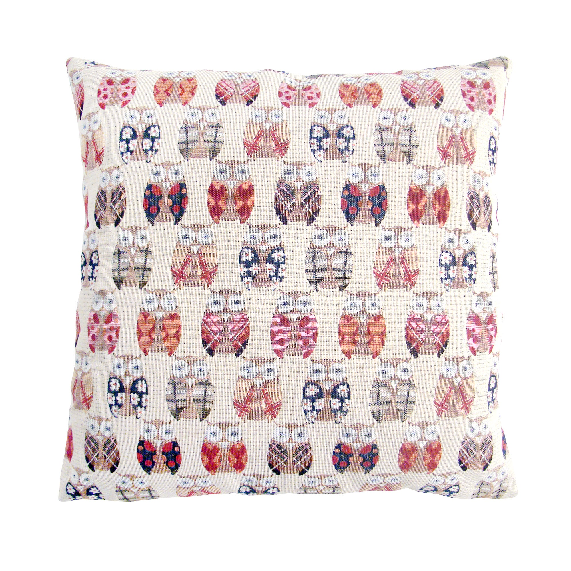 Photo of Owls cushion cover cream / grey / red