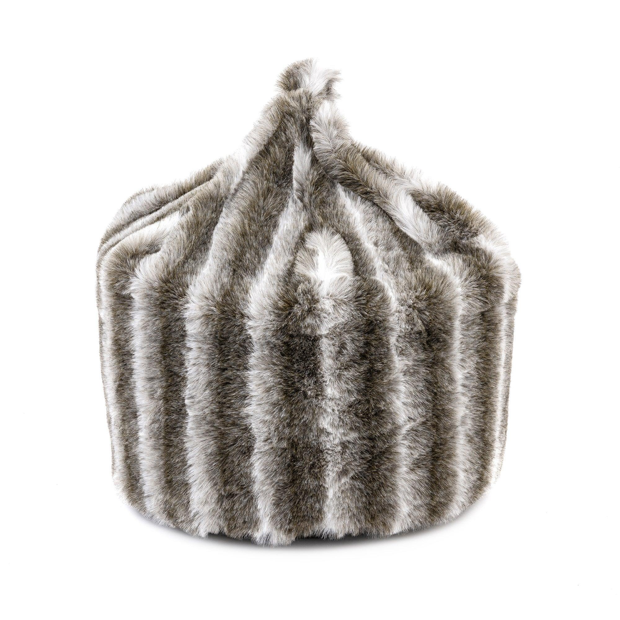 Chinchilla Faux Fur Bean Bag Grey