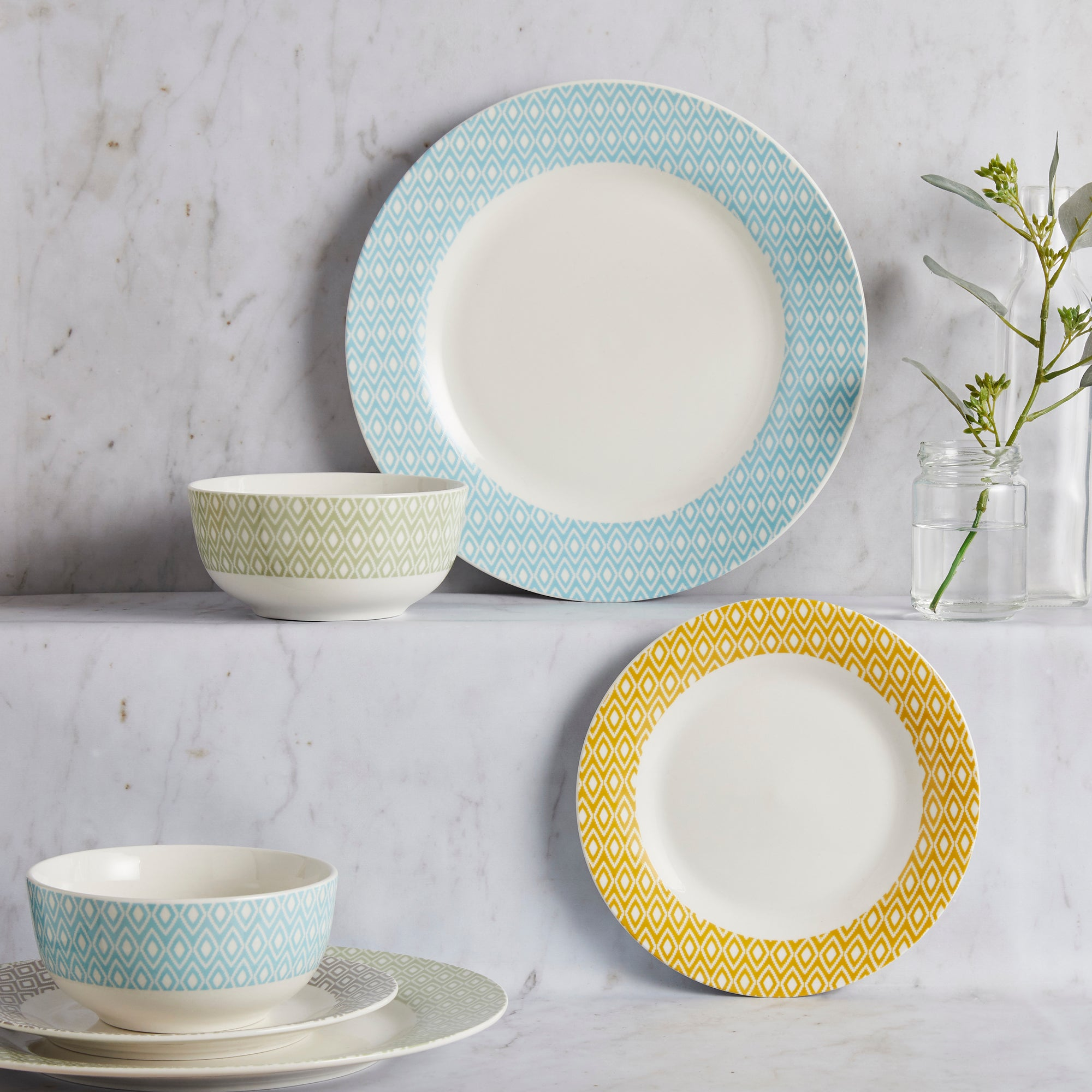 Geo Skandi 12 Piece Dinner Set Cream  Yellow  Blue