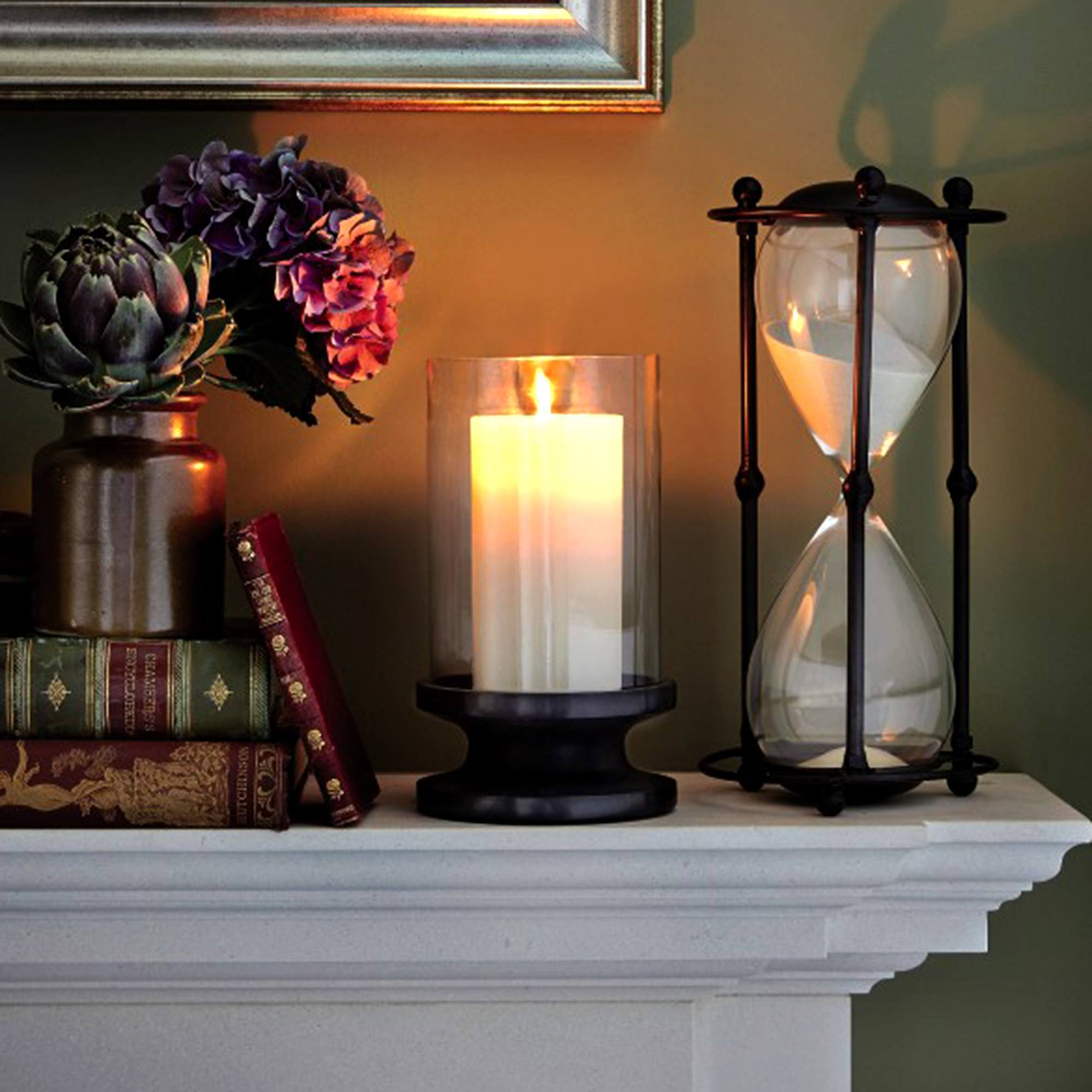 Photo of Dorma black glass and stone hurricane candle holder black