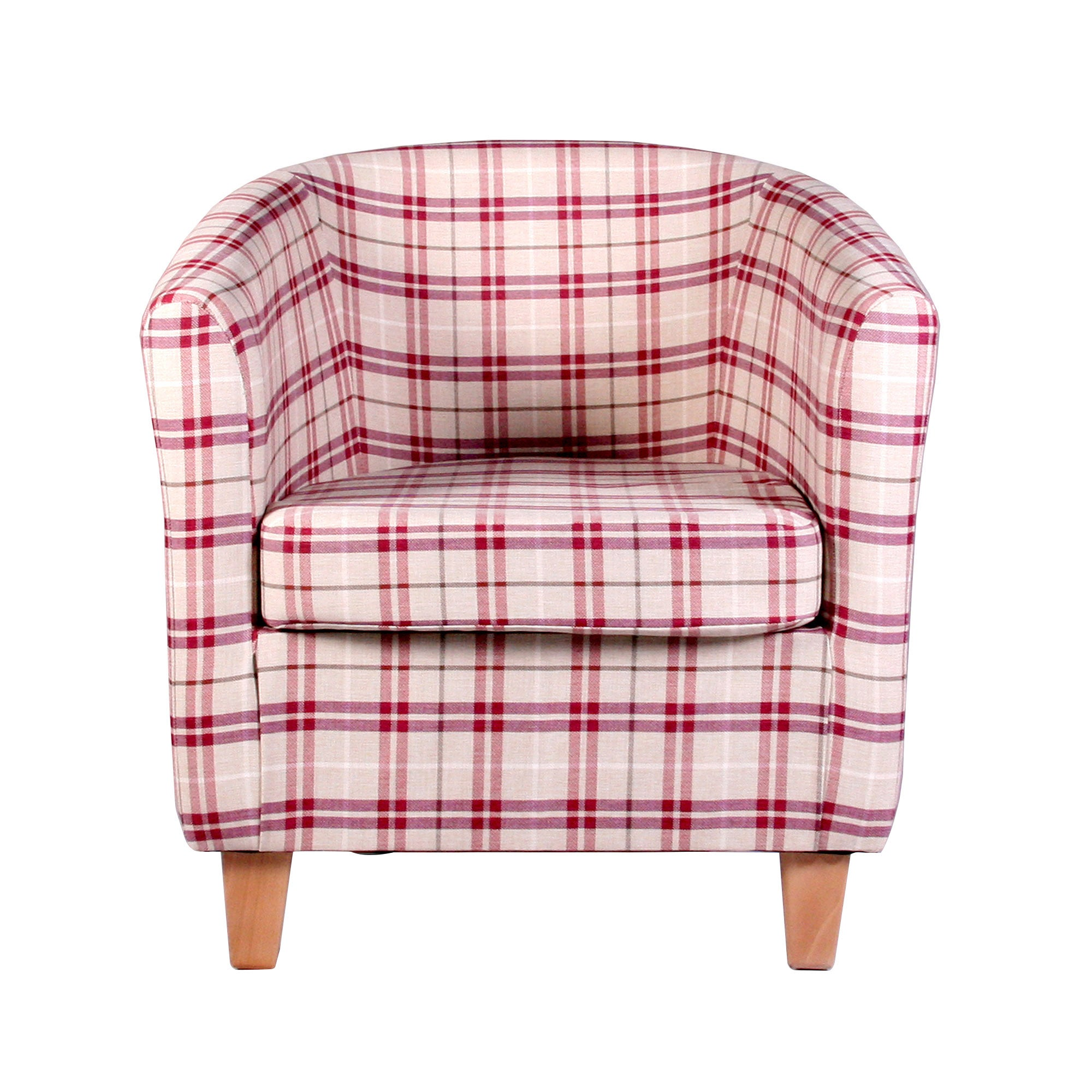 Adele Check Berry Tub Chair Red / Brown