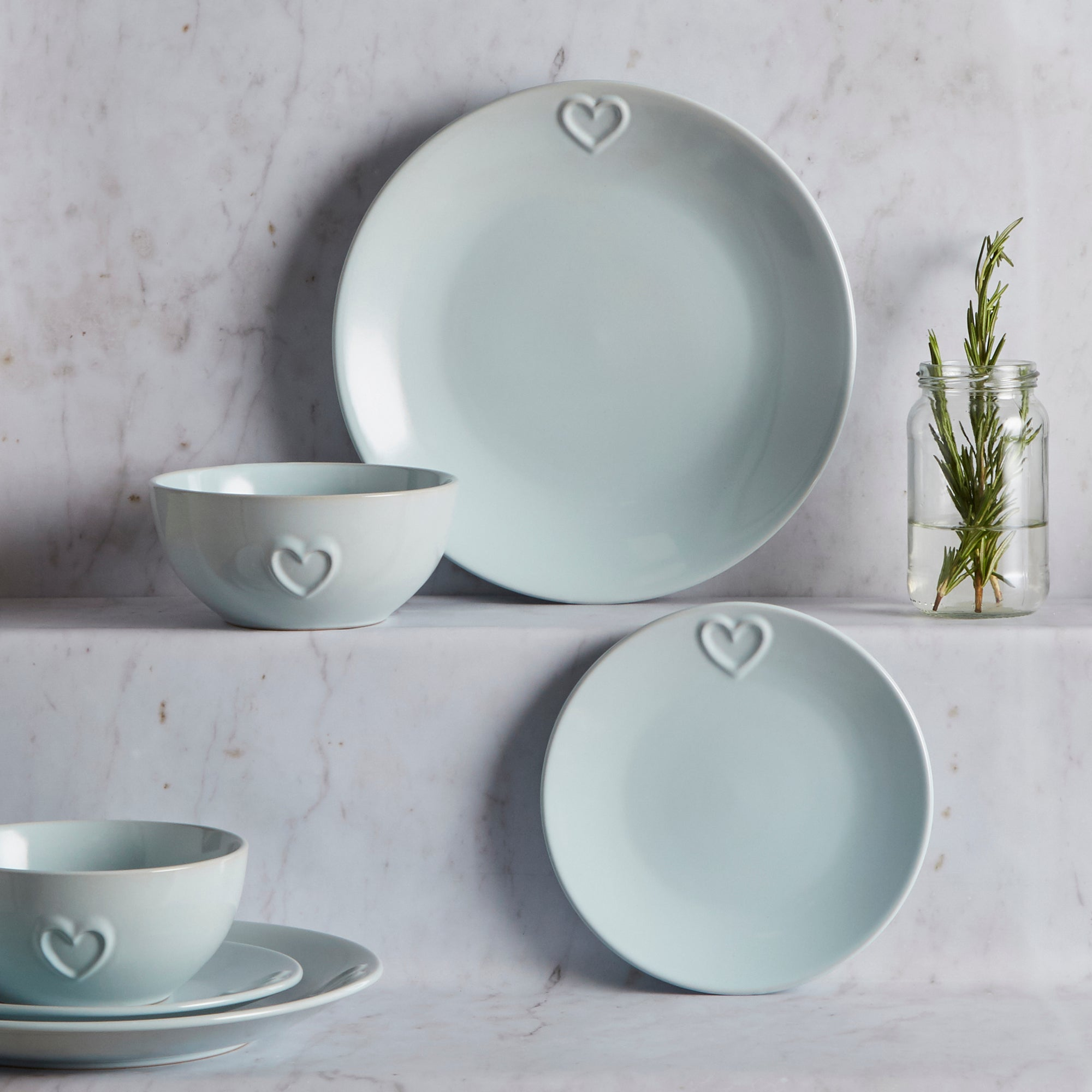 Country Heart DuckEgg 12 Piece Dinner Set Duck Egg Blue