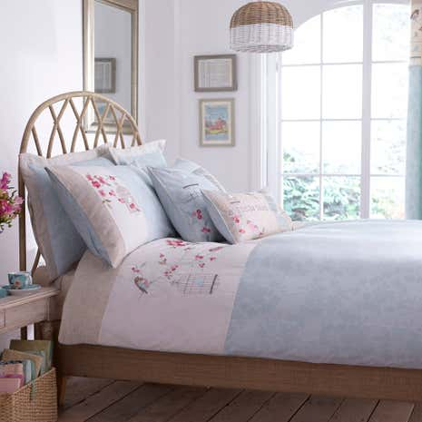 Evelyn Duck Egg Bed Linen Collection | Dunelm