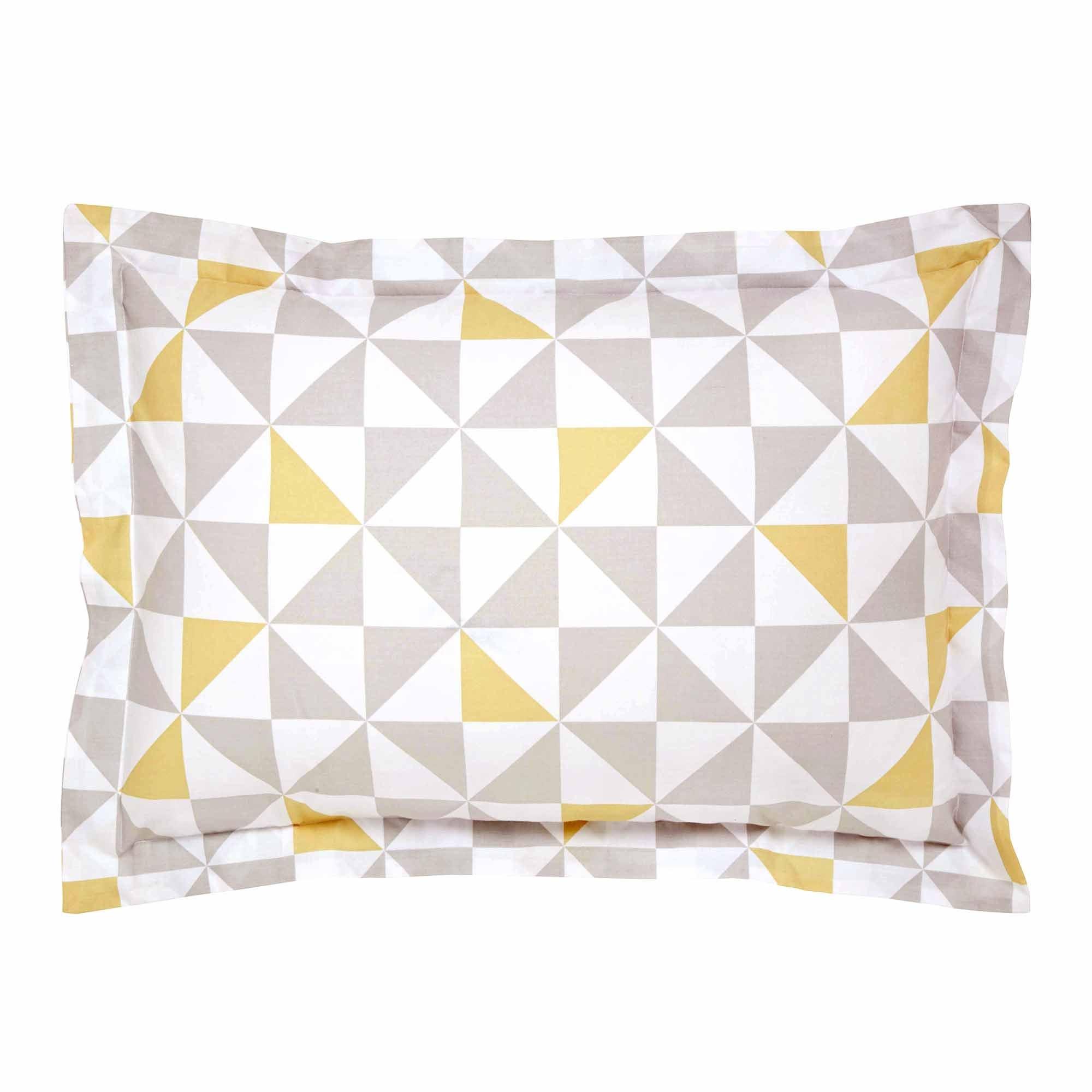 Image of Skandi Geometric Yellow Oxford Pillowcase Yellow