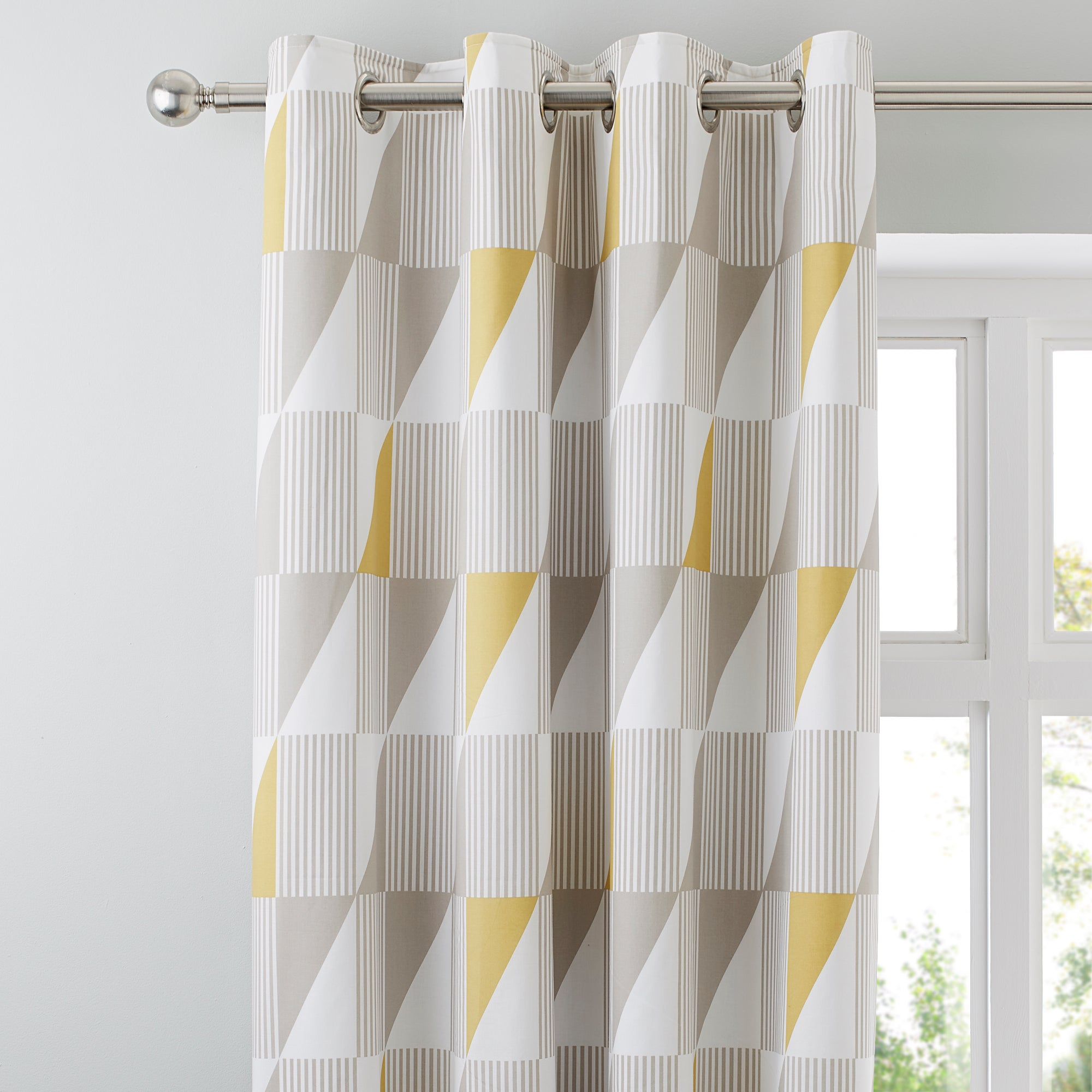 Skandi Geo Yellow Thermal Eyelet Curtains Yellow