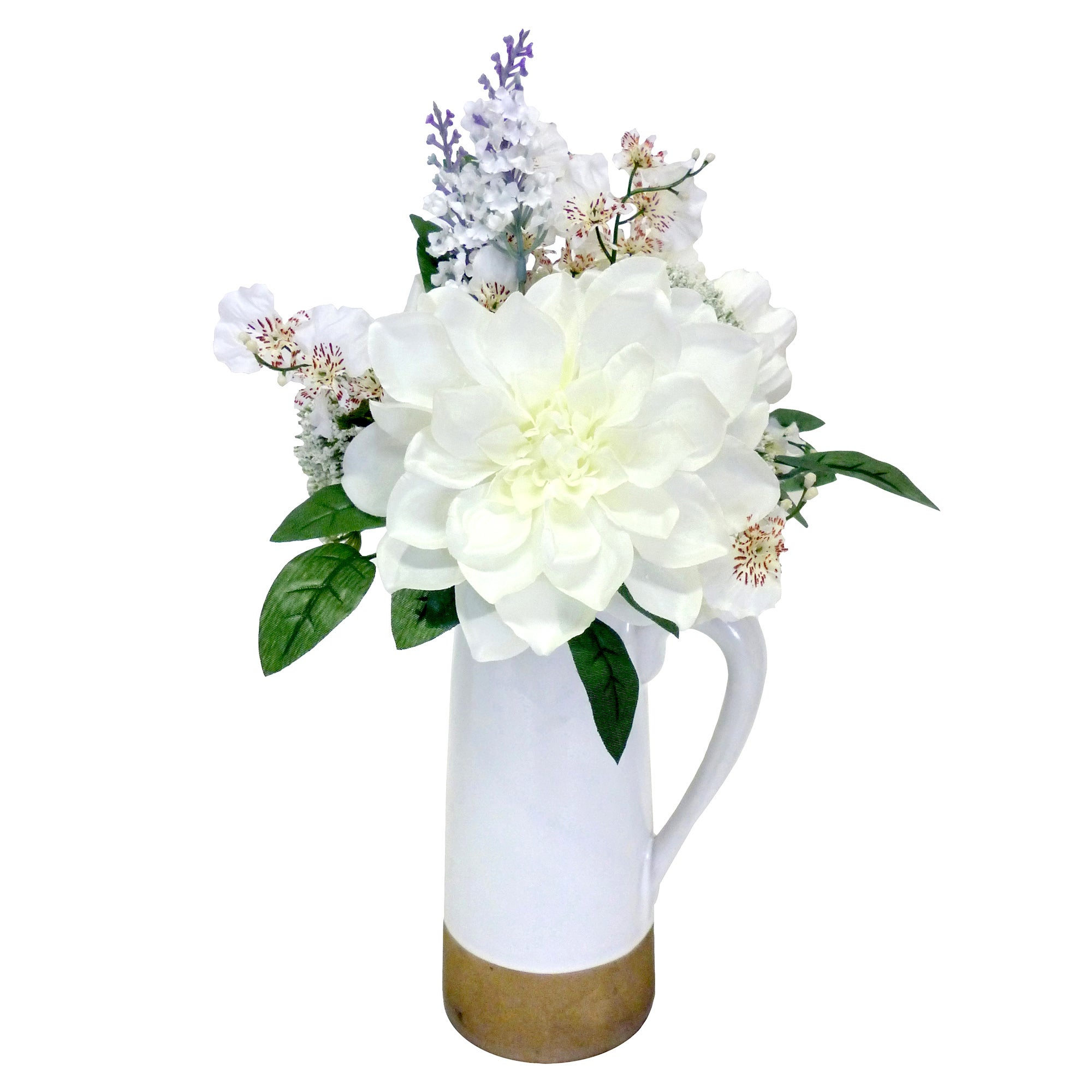 Image of Flowers in Ceramic Jug White