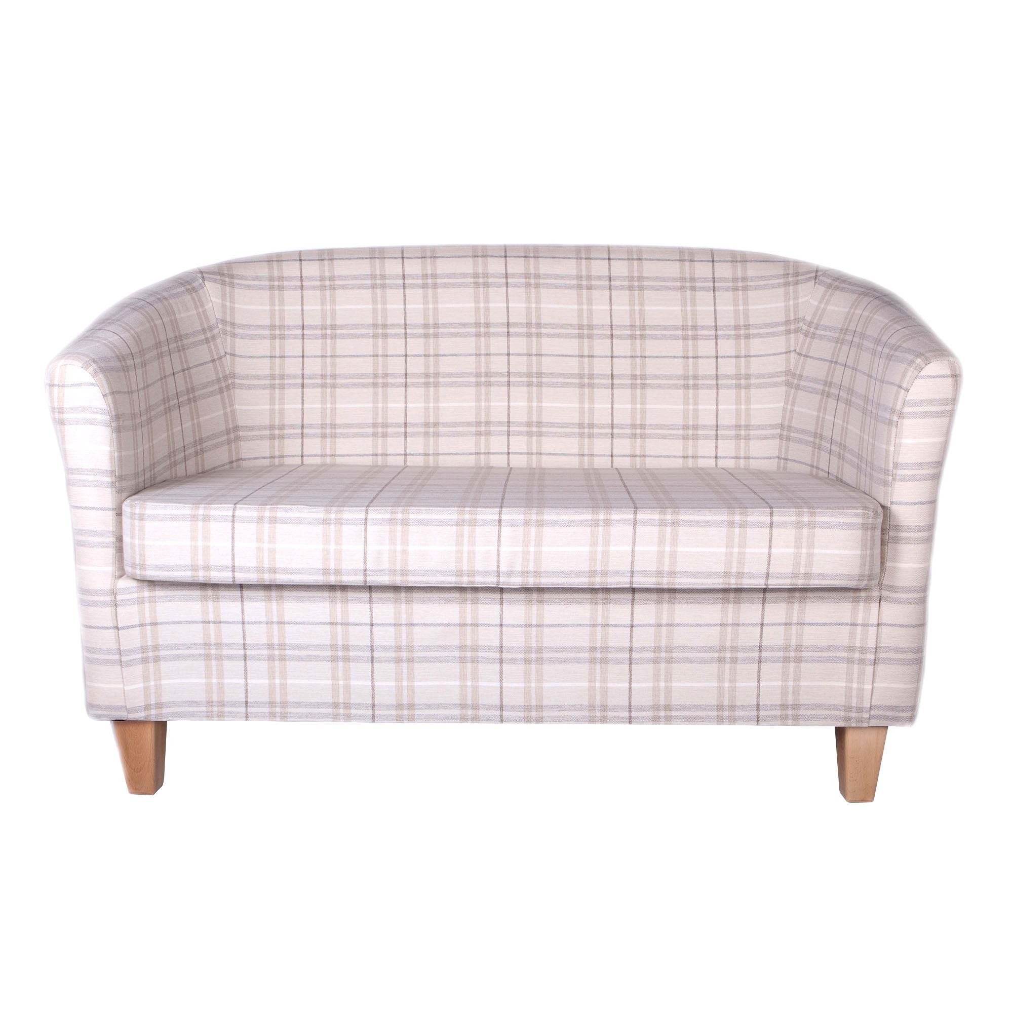 Adele Check Natural 2 Seater Tub Chair Adele Check Natural