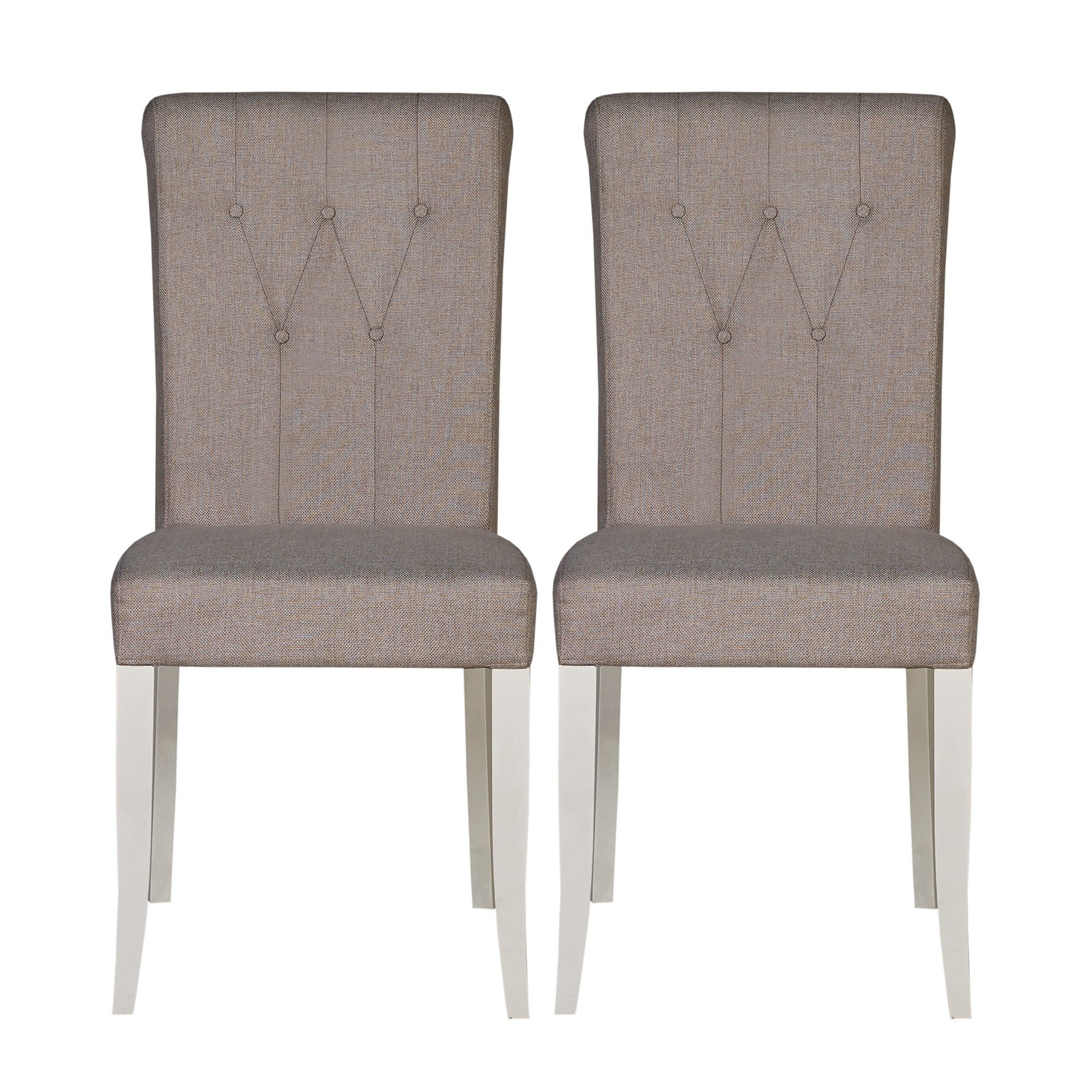 Photo of Eaton soft grey button back pair of upholstered dining chairs light grey