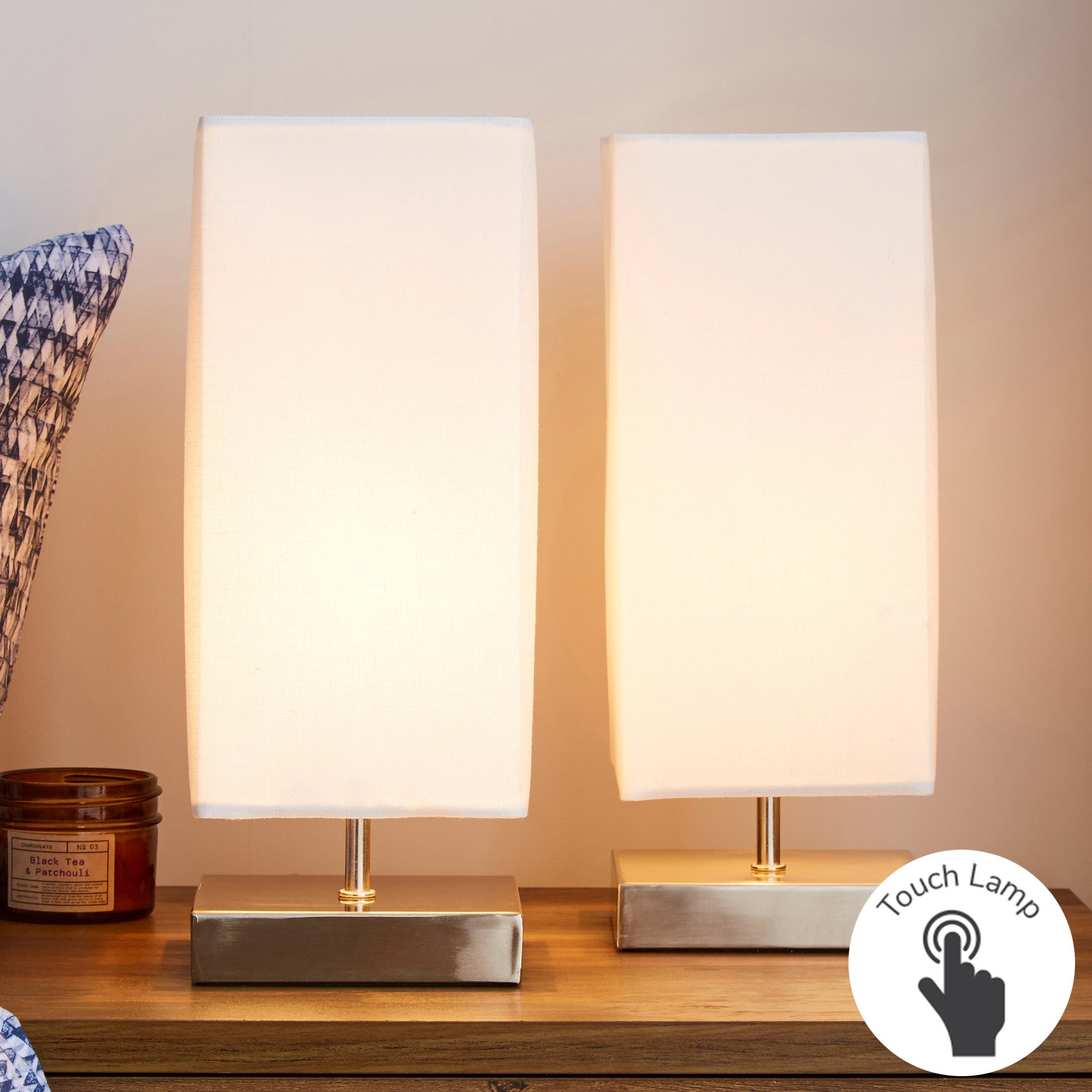 Charlotte Touch Twin Table Lamps Cream