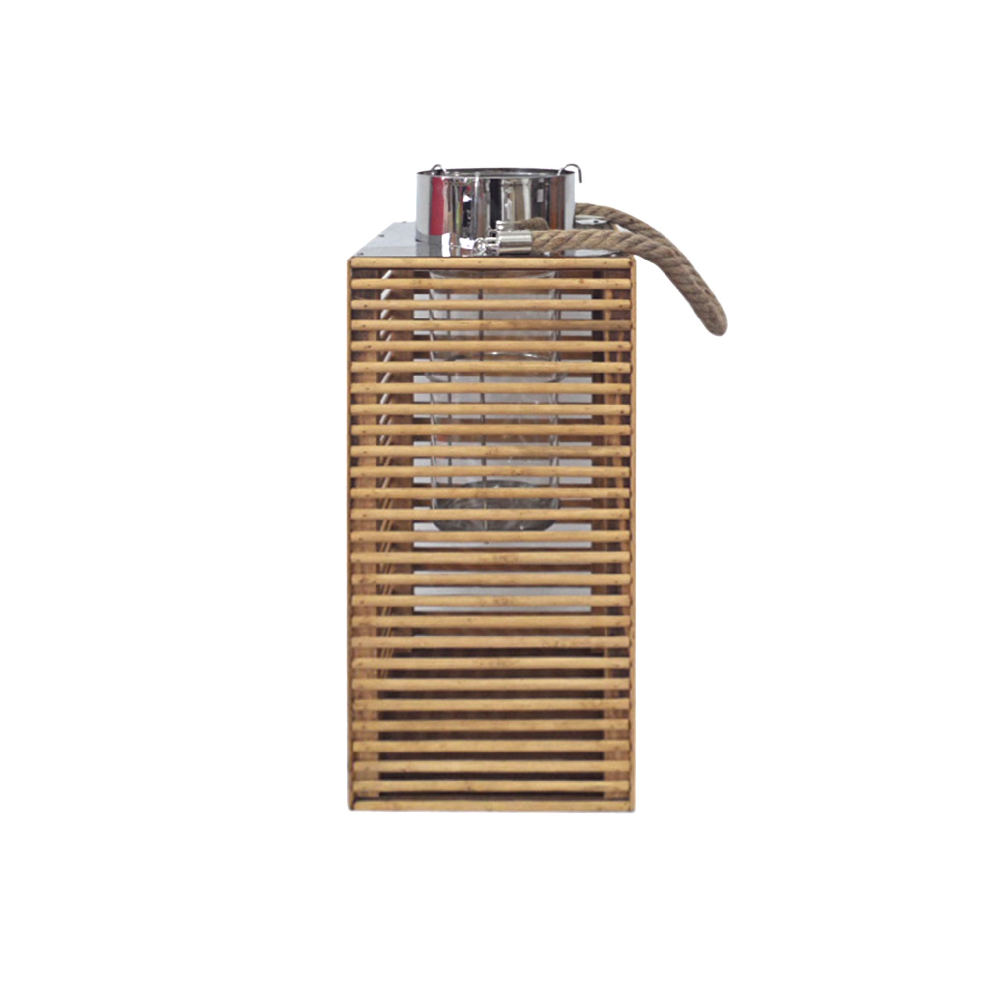 Wooden Grill Lantern Light Brown  Natural