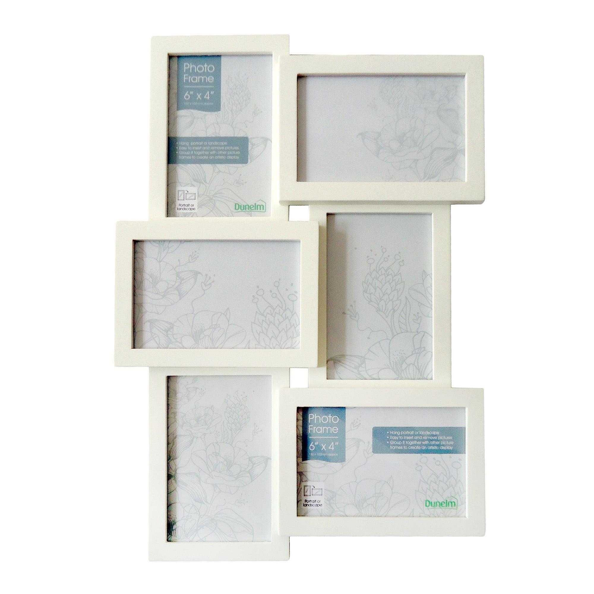 Image of 6 Opening Jigsaw Photo Frame White