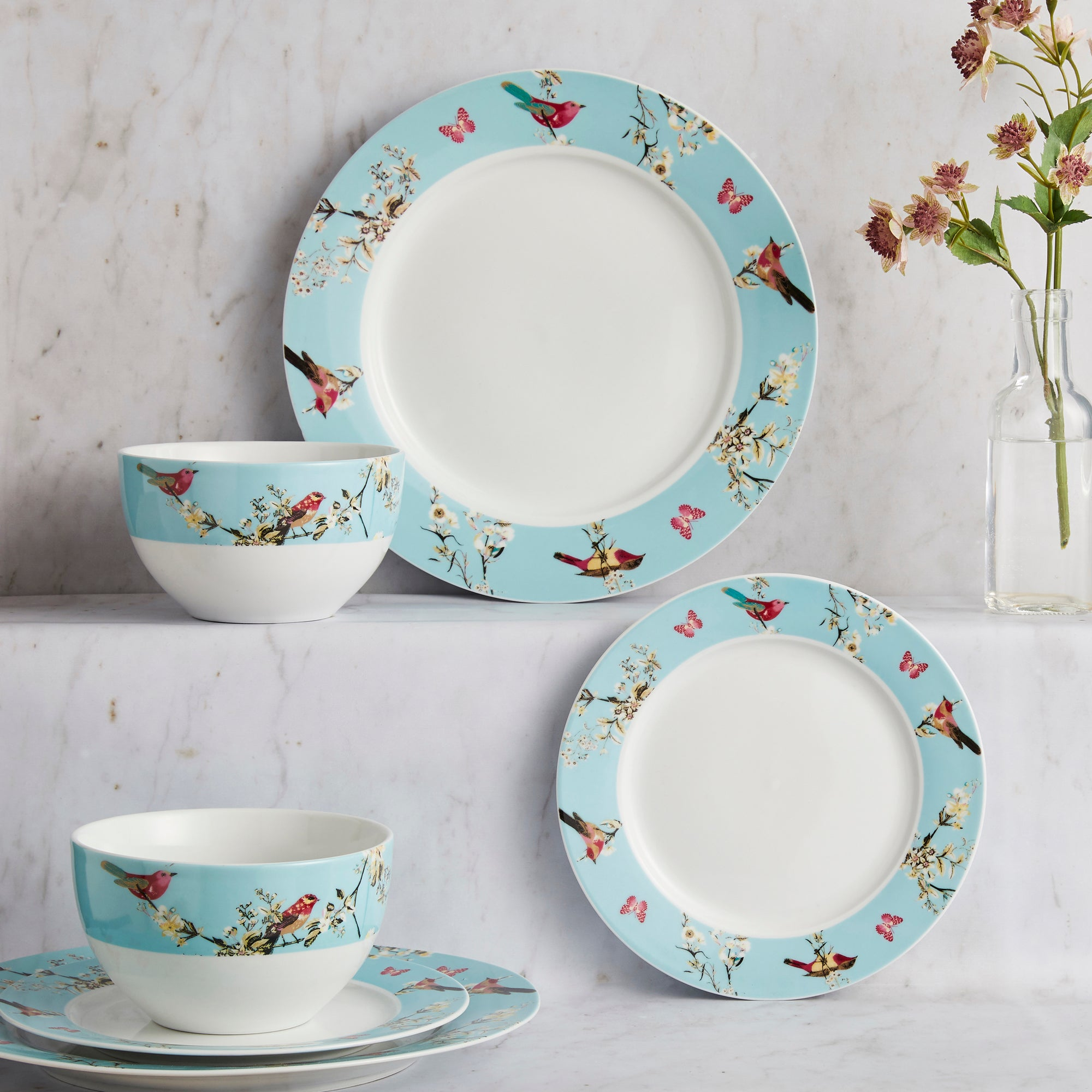 Beautiful Birds 12 Piece Dinner Set Duck Egg Blue