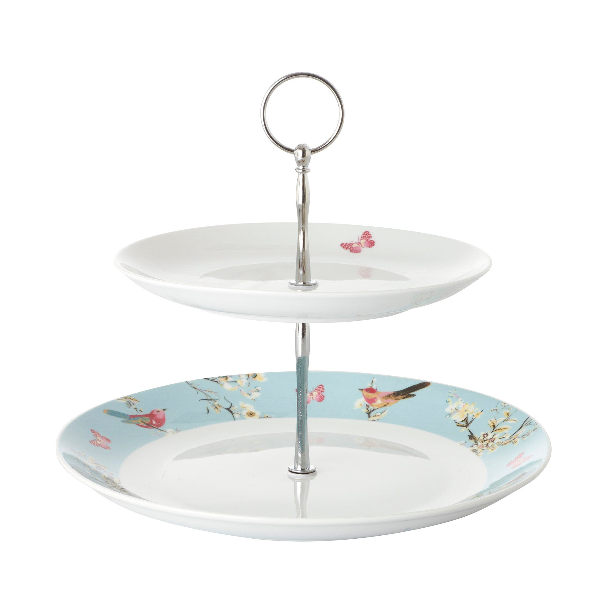 Beautiful Birds 2 Tier Cake Stand Duck Egg Blue