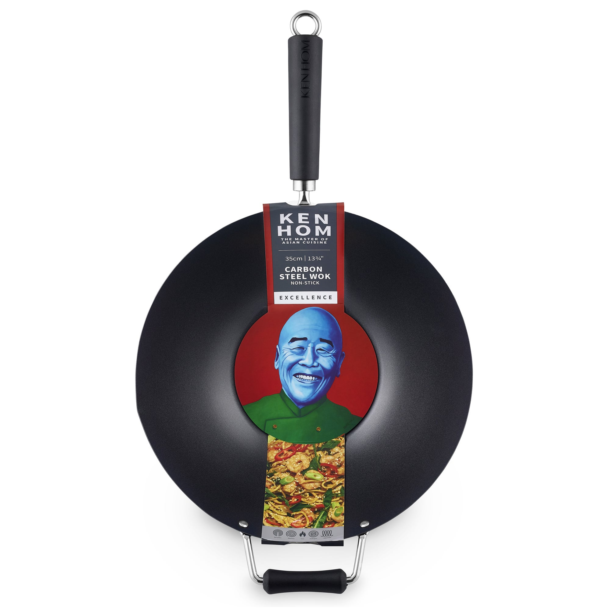 Ken Hom Performance 36cm Carbon Steel Wok Black