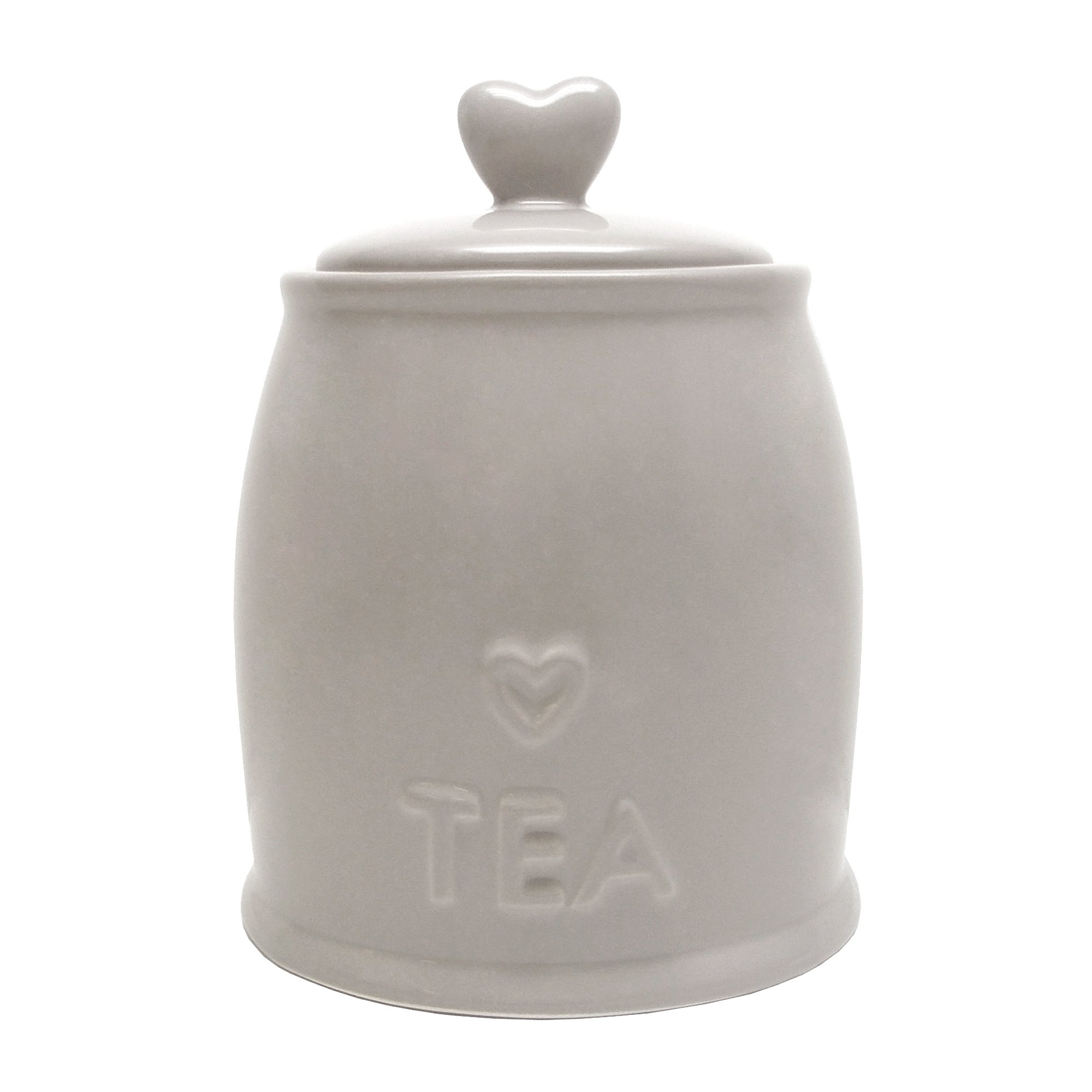 Country Taupe Heart Tea Storage Jar Taupe
