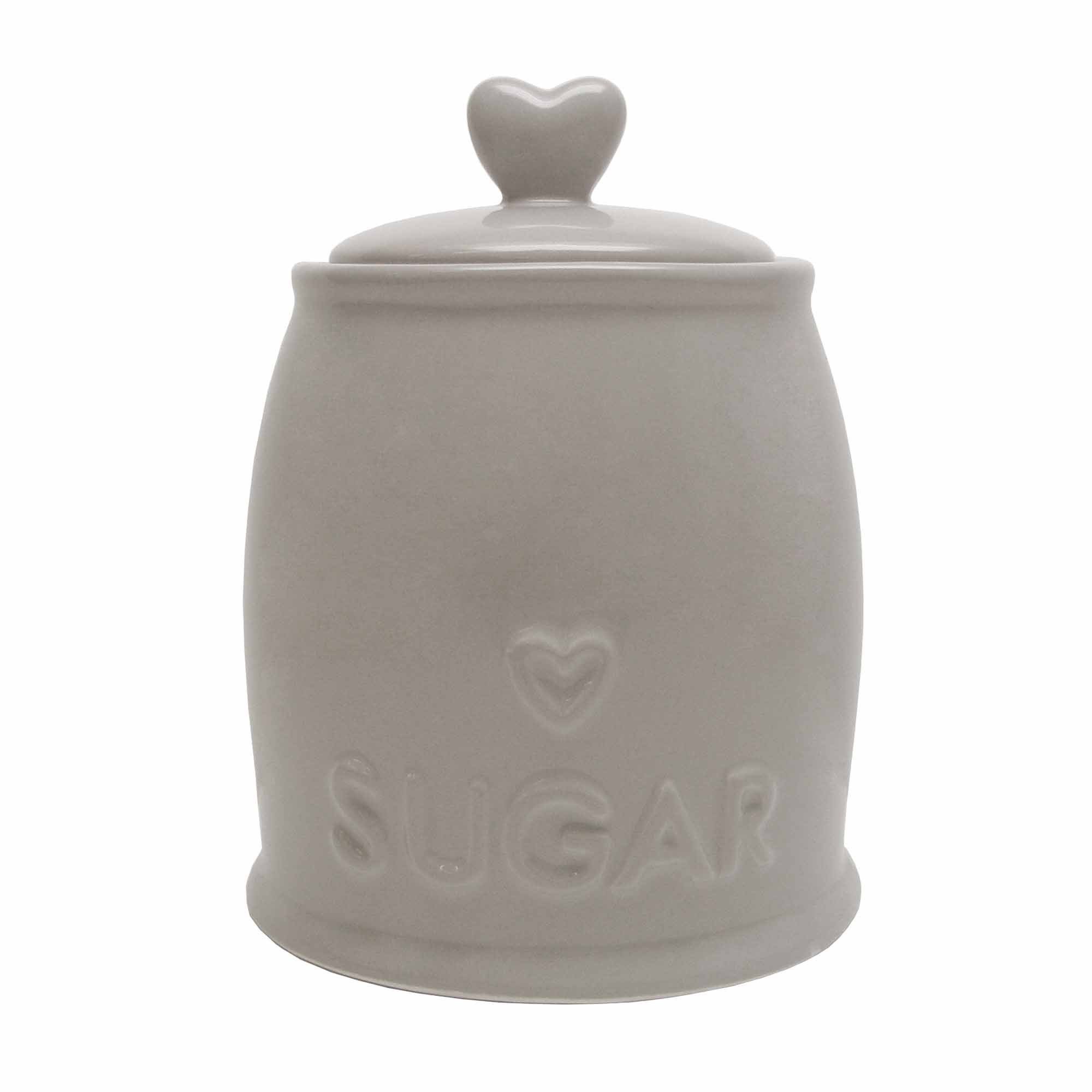 Country Taupe Heart Sugar Storage Jar Taupe