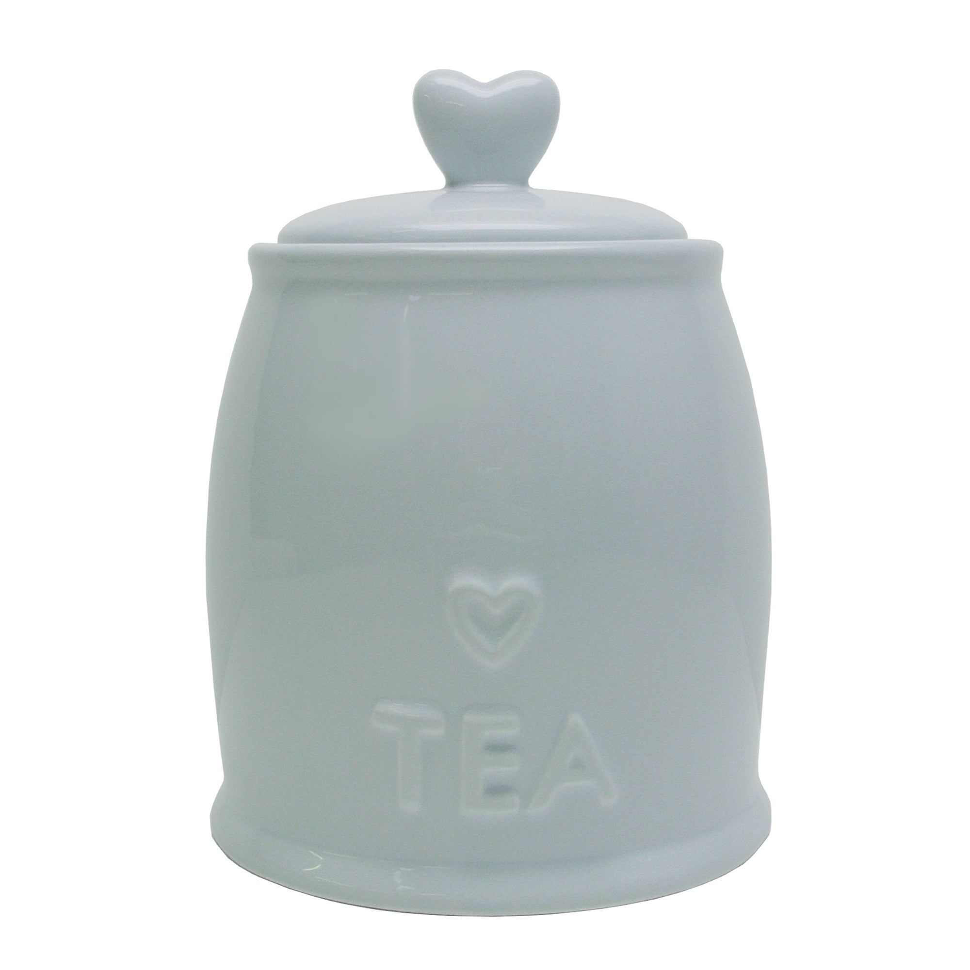 Country Heart DuckEgg Tea Storage Jar Duck Egg Blue