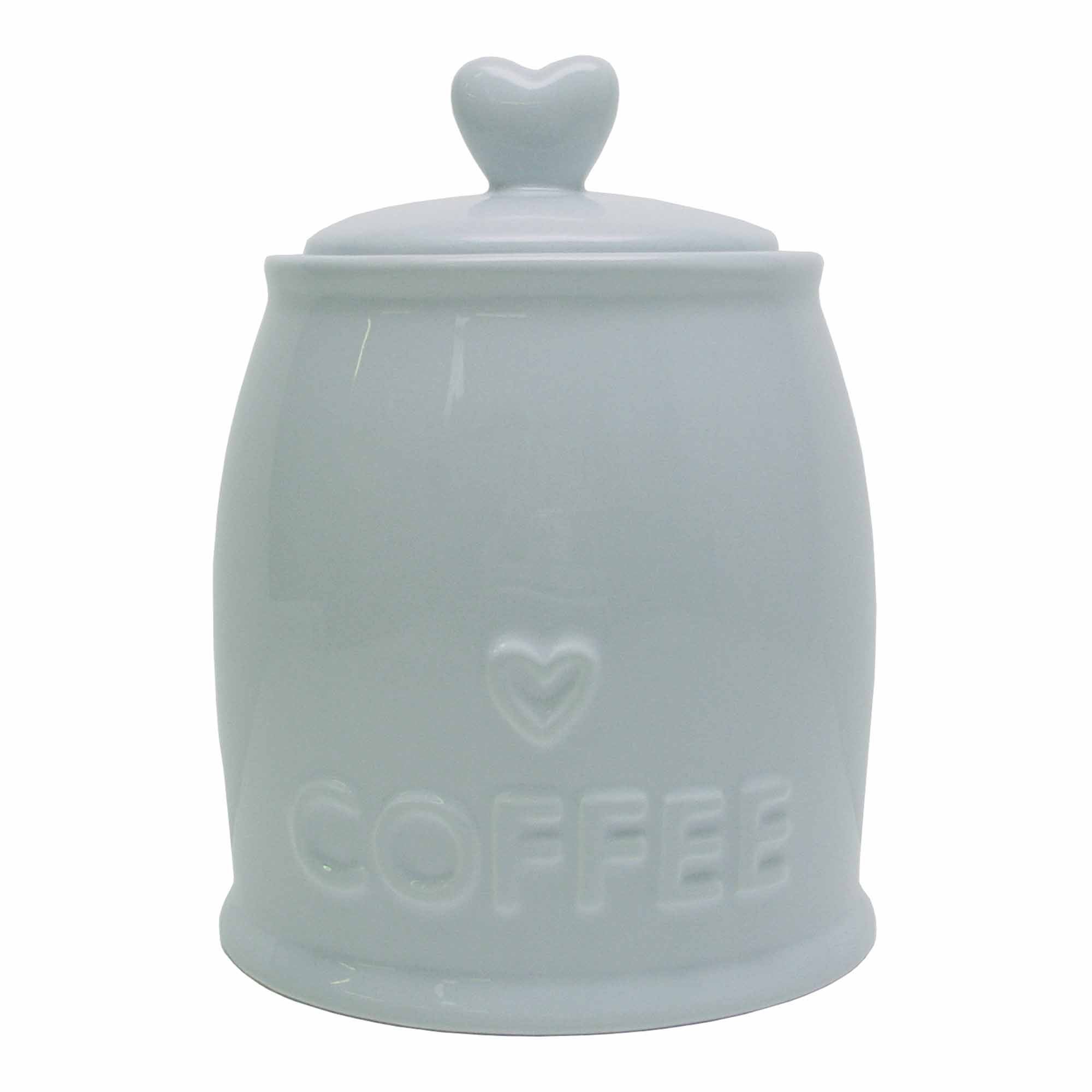 Country Heart DuckEgg Coffee Jar Duck Egg Blue