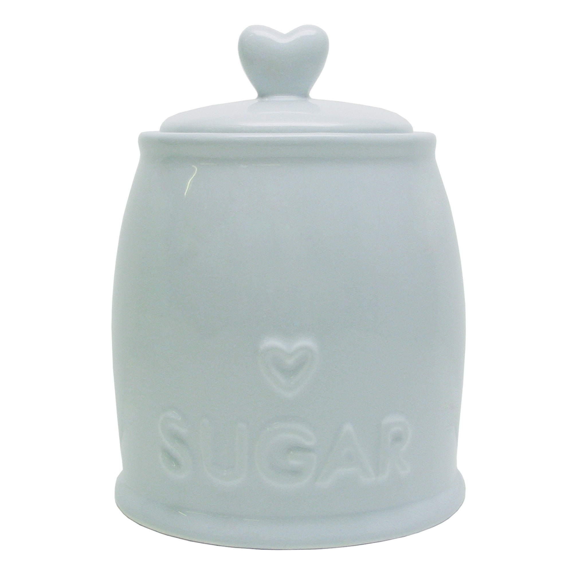 Country Heart DuckEgg Sugar Storage Jar Duck Egg Blue