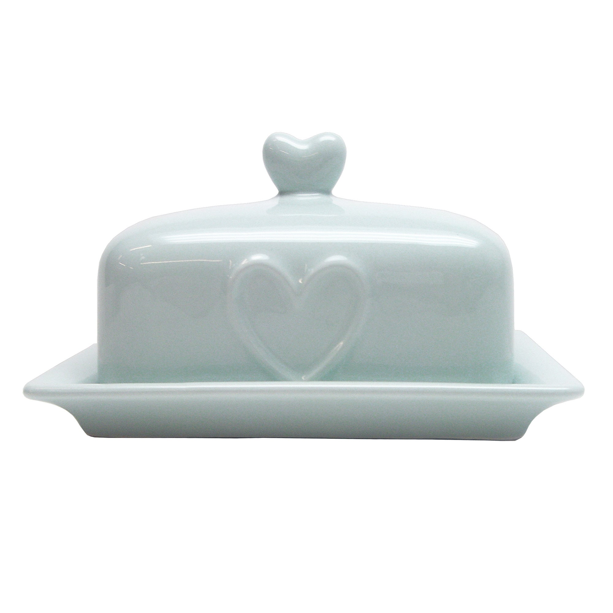 Country Heart DuckEgg Butter Dish Duck Egg Blue