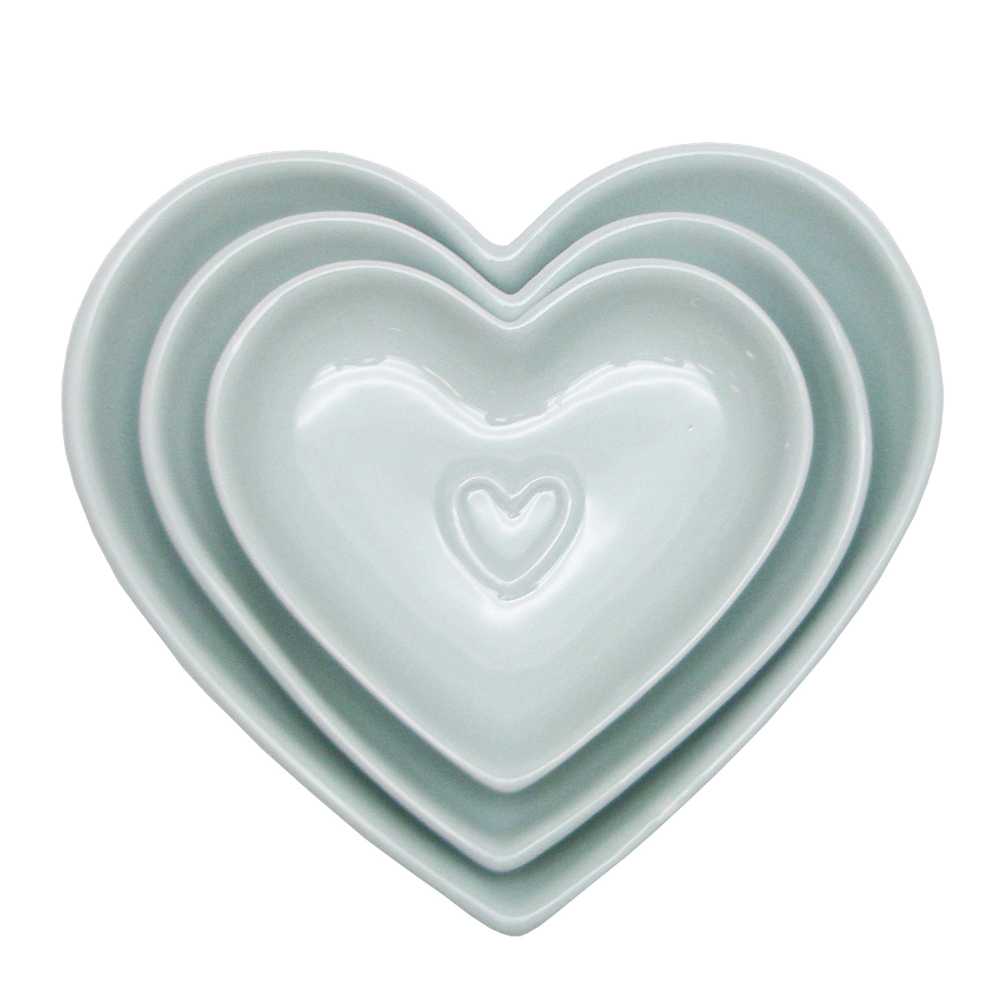 Country Heart DuckEgg Nesting Bowls Duck Egg Blue