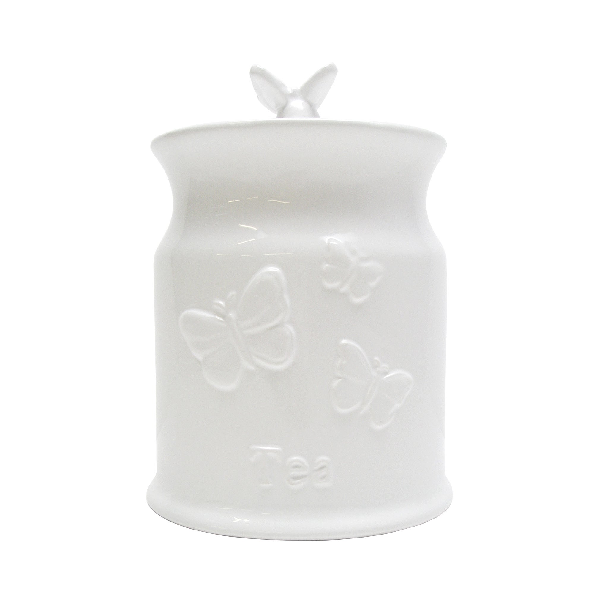 White Butterflies Embossed Tea Canister White