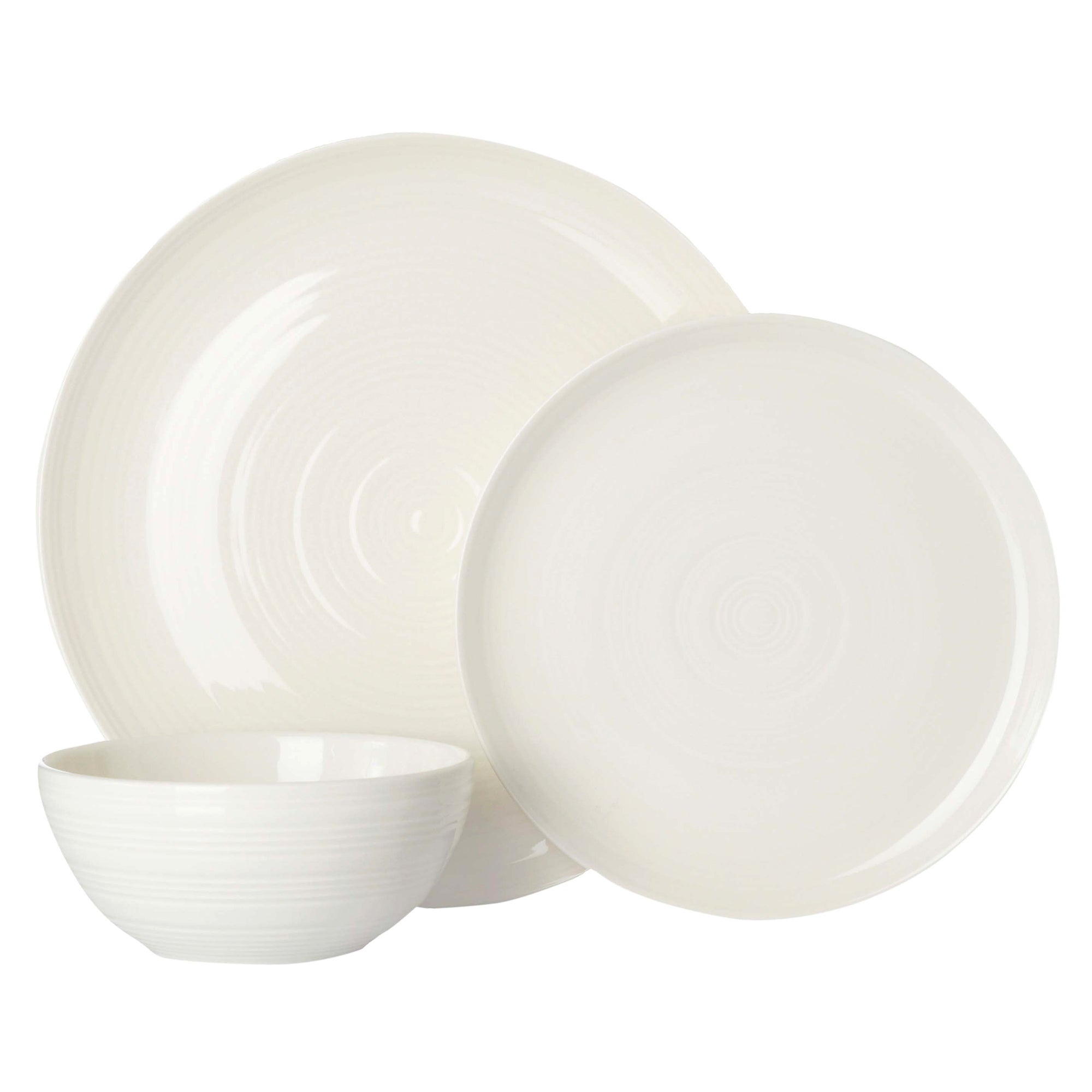 Cream Spin 12 Piece Dinner Set Cream