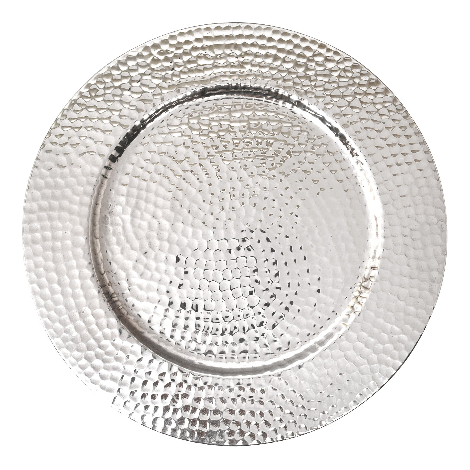 Hammmered Metal Silver Tray Silver