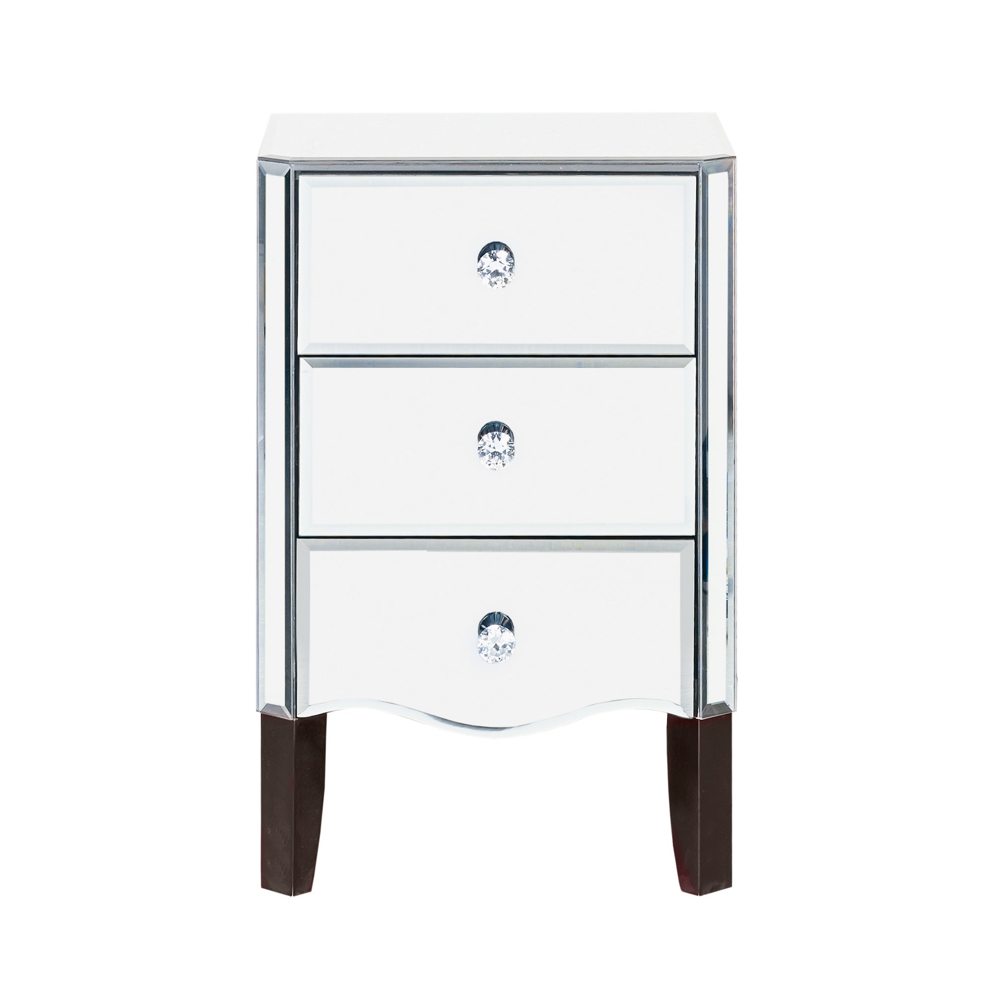 Viola Mirrored 3 Drawer Bedside Table Dunelm