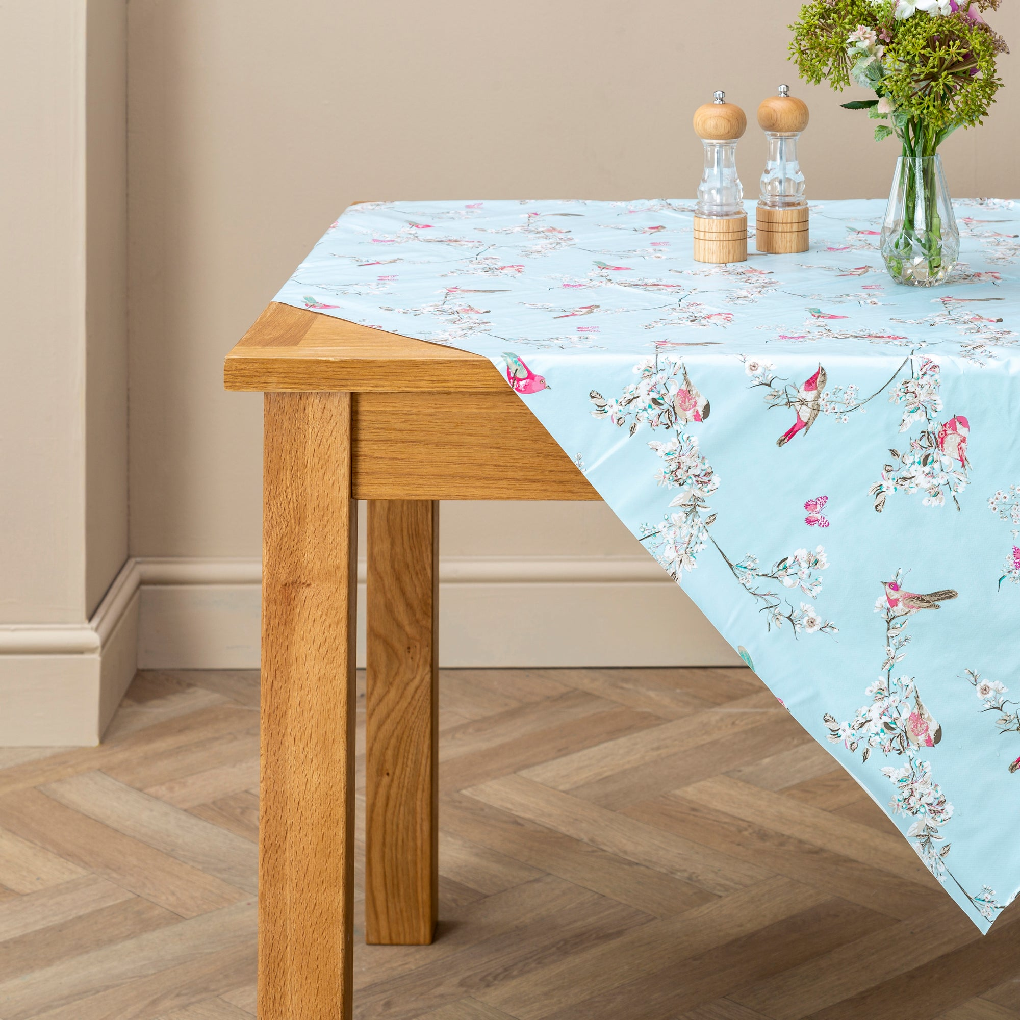 Beautiful Birds Round PVC Tablecloth Duck Egg Blue