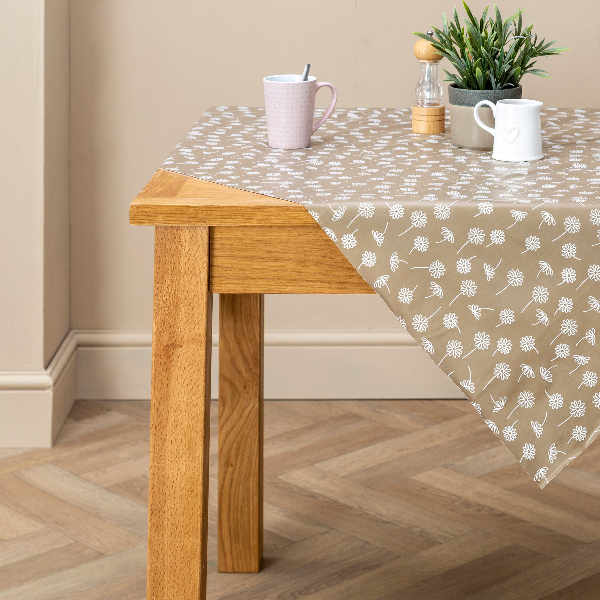 Taupe Daisy PVC Tablecloth Taupe
