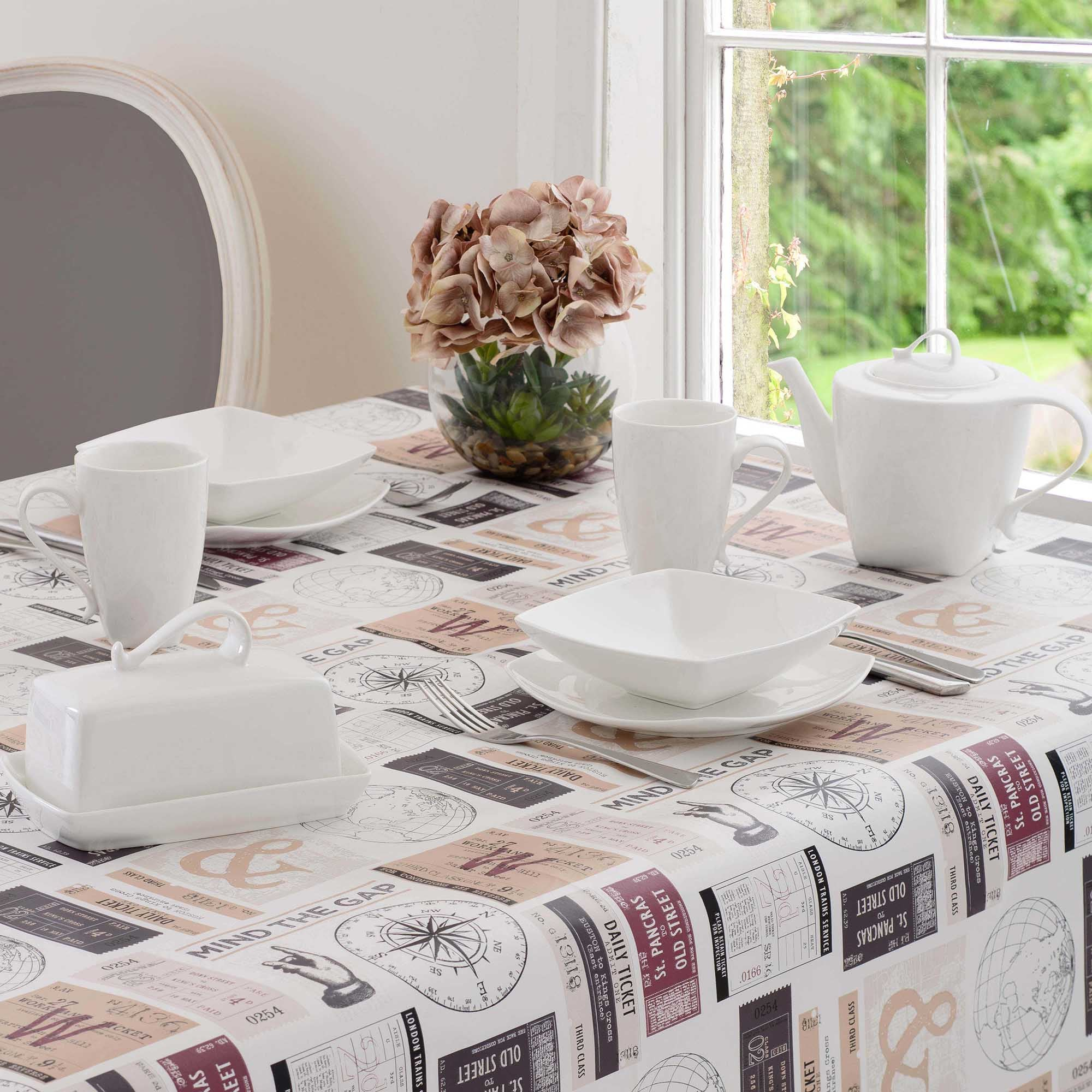 Tickets Round PVC Tablecloth Cream  Grey  Red