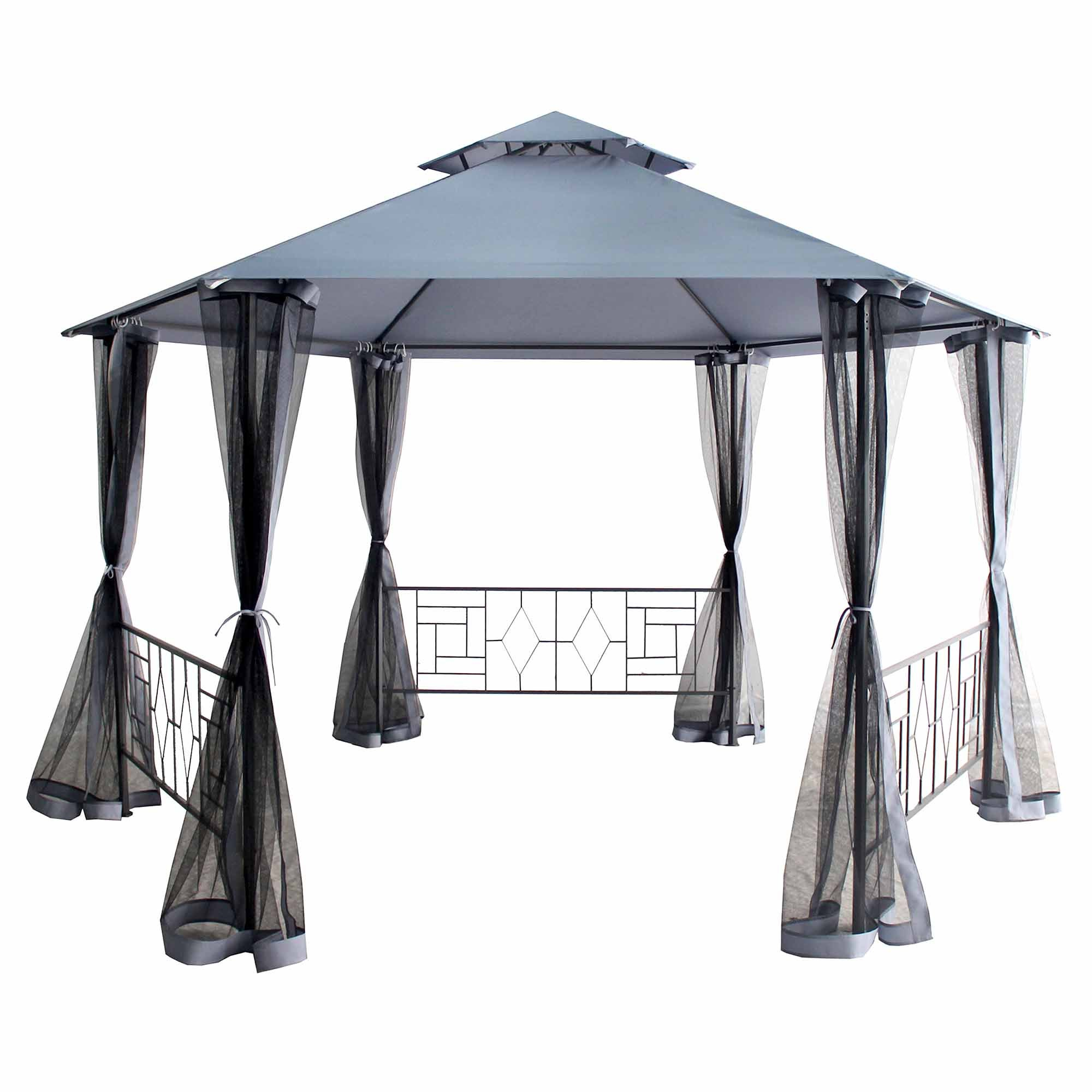 Balinese Hexagonal Gazebo Grey