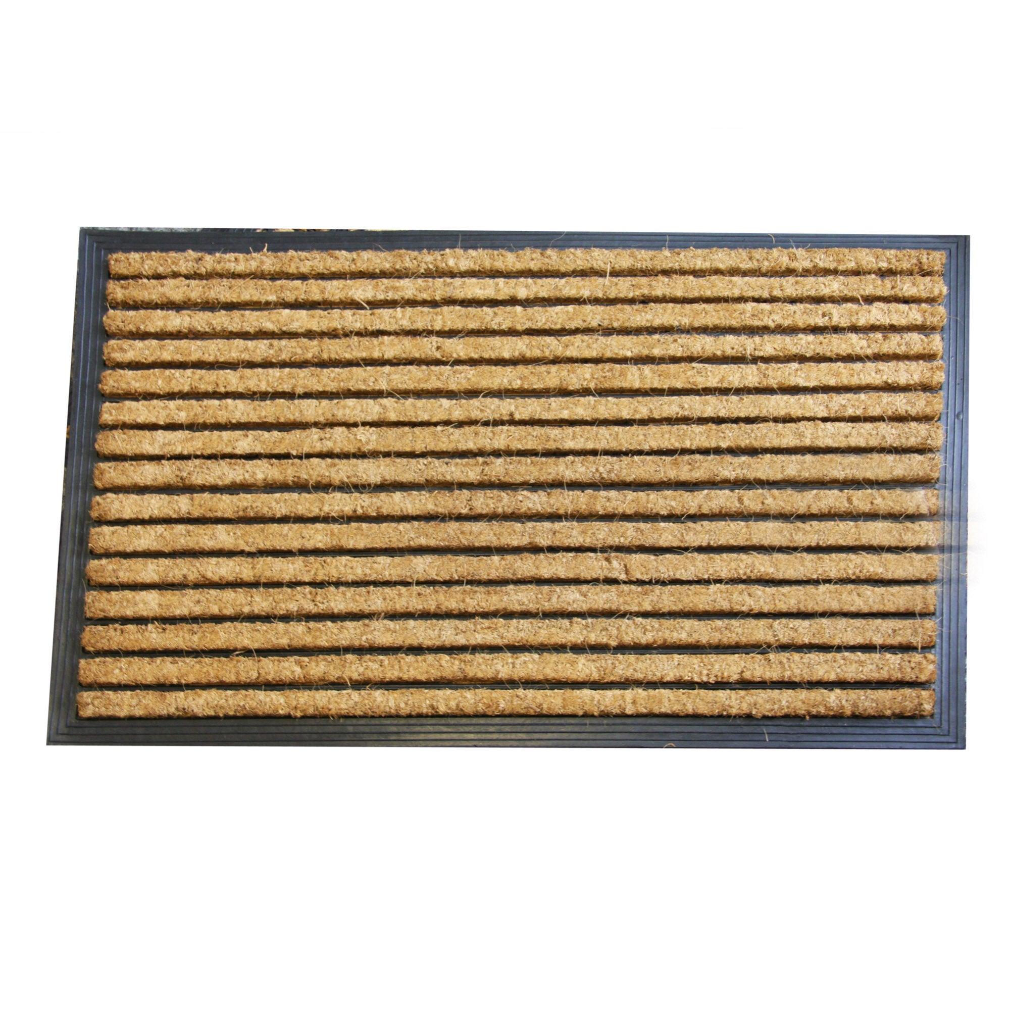 Jumbo Stripe Rubber and Coir Doormat Brown