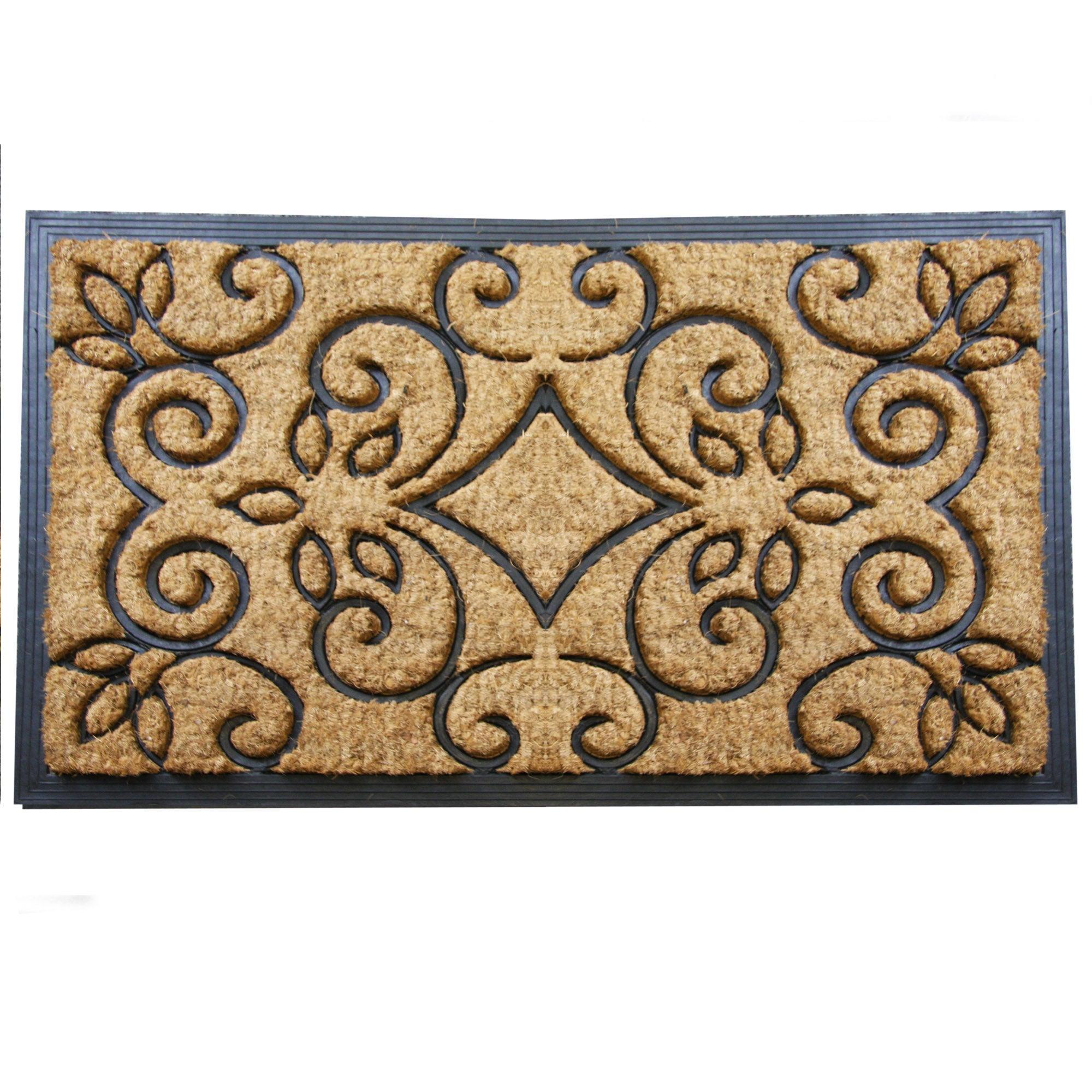 Jumbo Scroll Rubber and Coir Doormat Brown