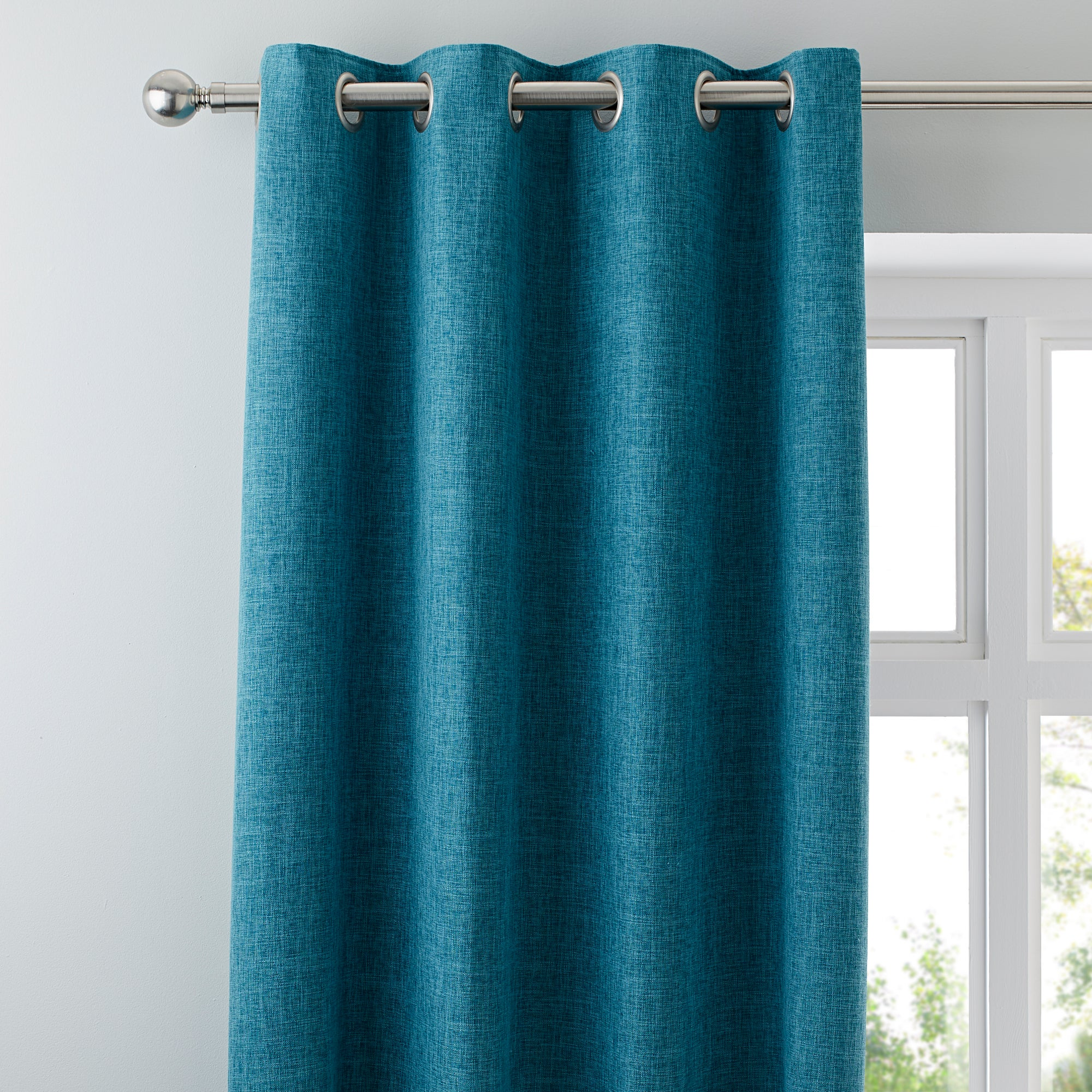Vermont Teal Lined Eyelet Curtains Teal