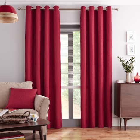 Vermont Red Lined Eyelet Curtains | Dunelm