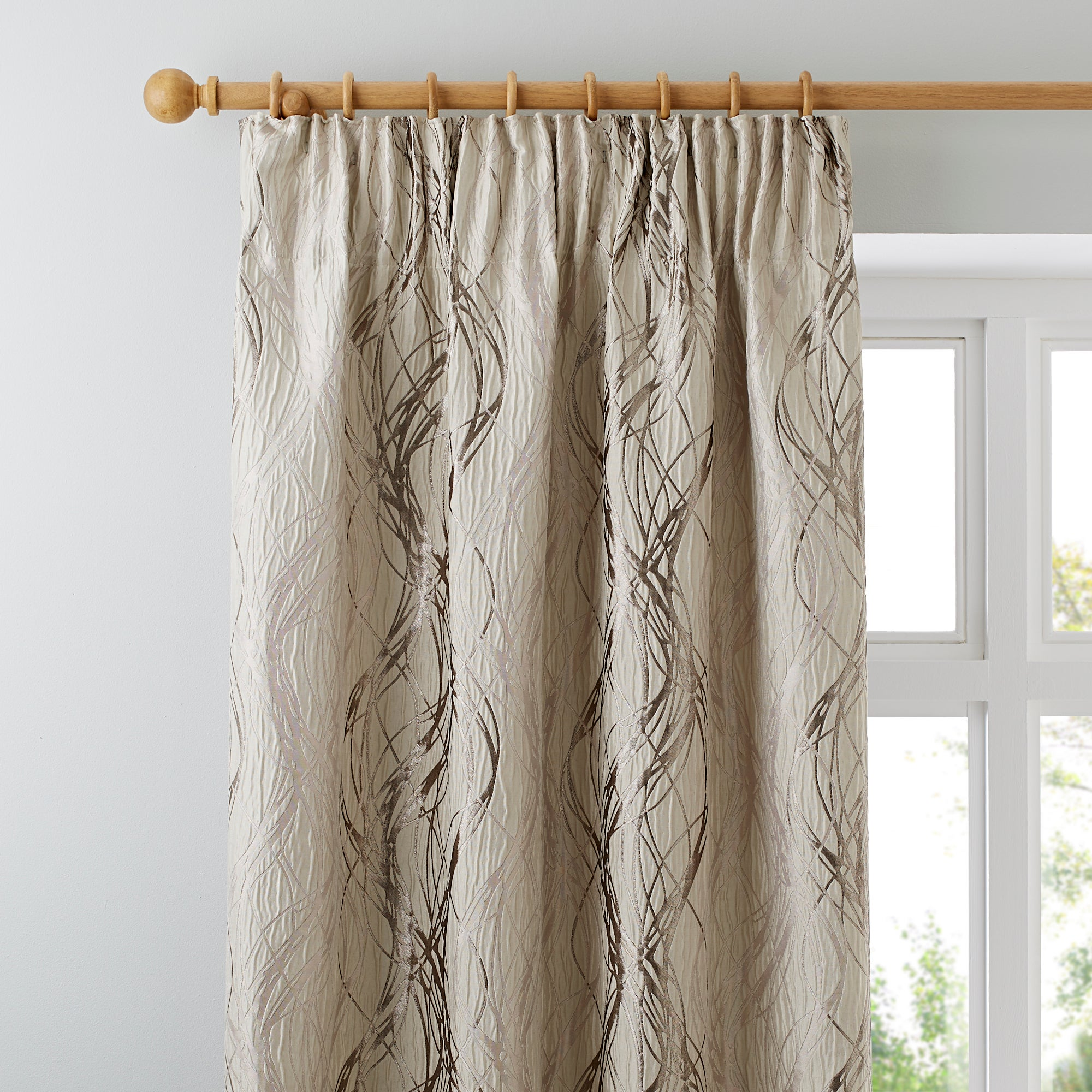 Photo of Victoria cream lined pencil pleat curtains cream