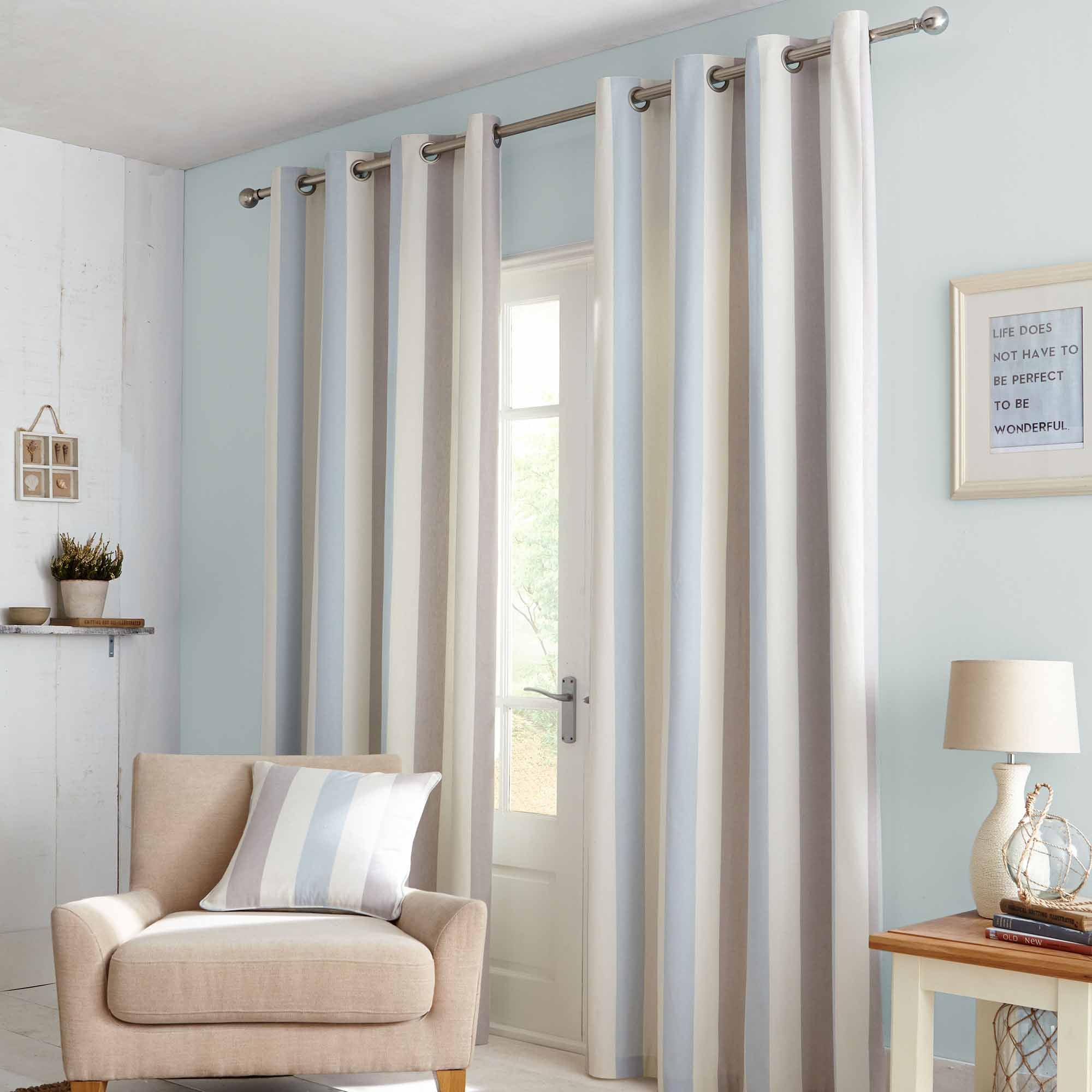Photo of Falmouth duck-egg lined eyelet curtains duck egg blue