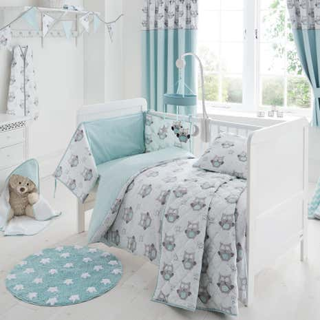 Little Owls Nursery Cot Bed Duvet Cover And Pillowcase Set