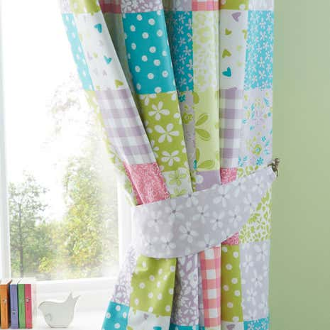 Charming Ditsy Patchwork Blackout Eyelet Curtains