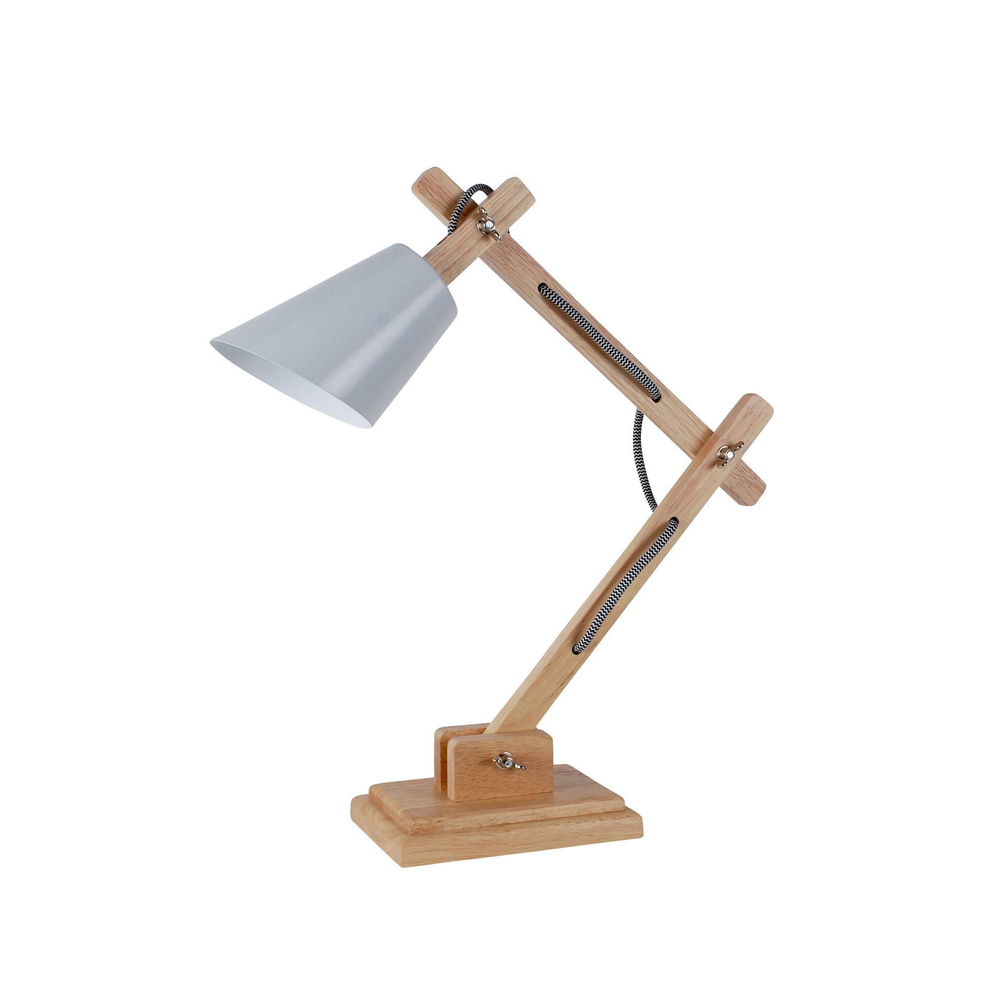 Photo of Cream harry wood and metal desk lamp cream