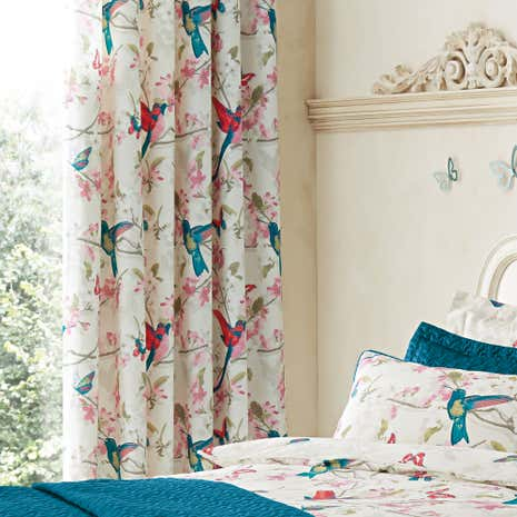 Tropical Birds Teal Thermal Eyelet Curtains | Dunelm